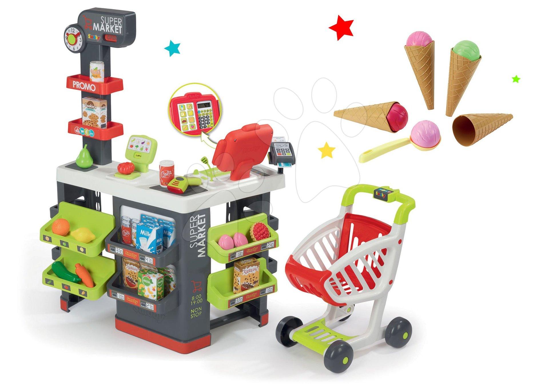 Trgovine kompleti - Komplet trgovina z vozičkom Supermarket Smoby in sladoled s kornetom