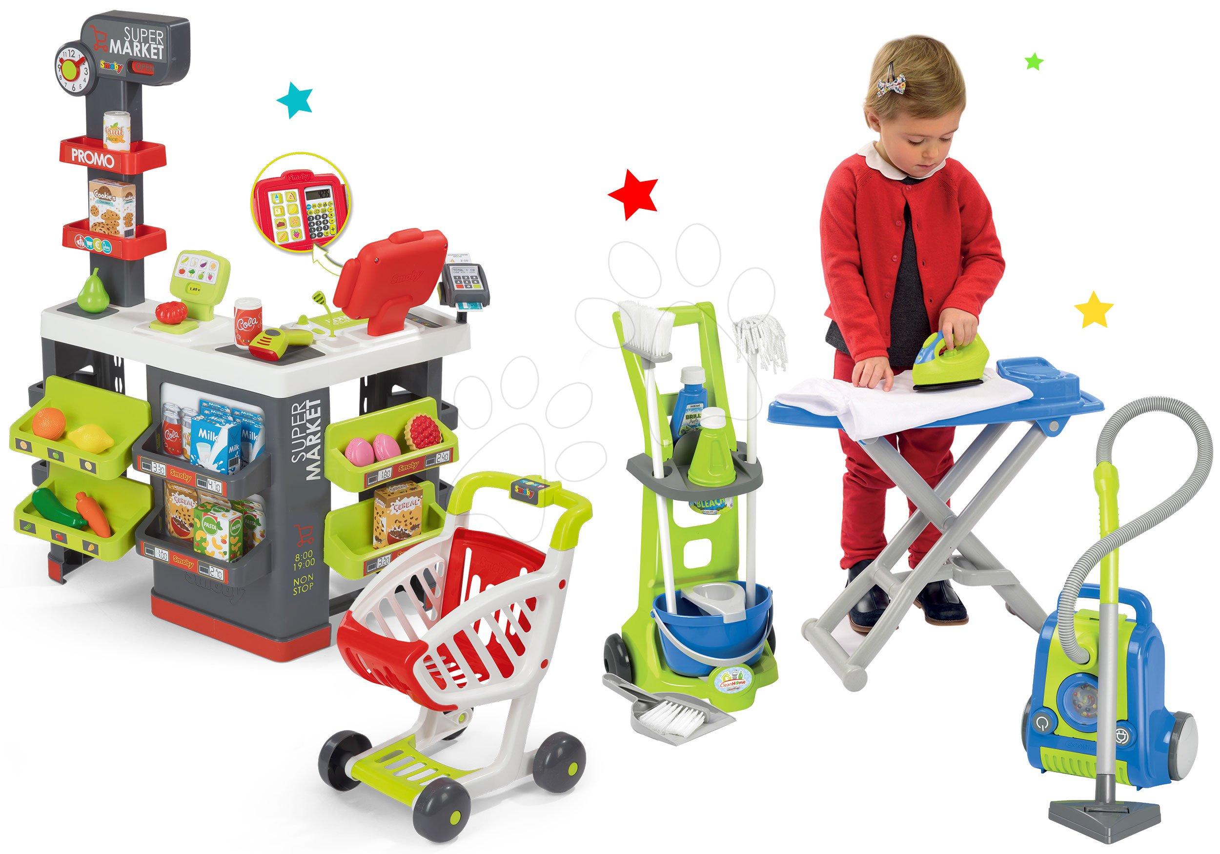 Smoby set obchod Supermarket s pokladnou a úklidový vozík 350213-19