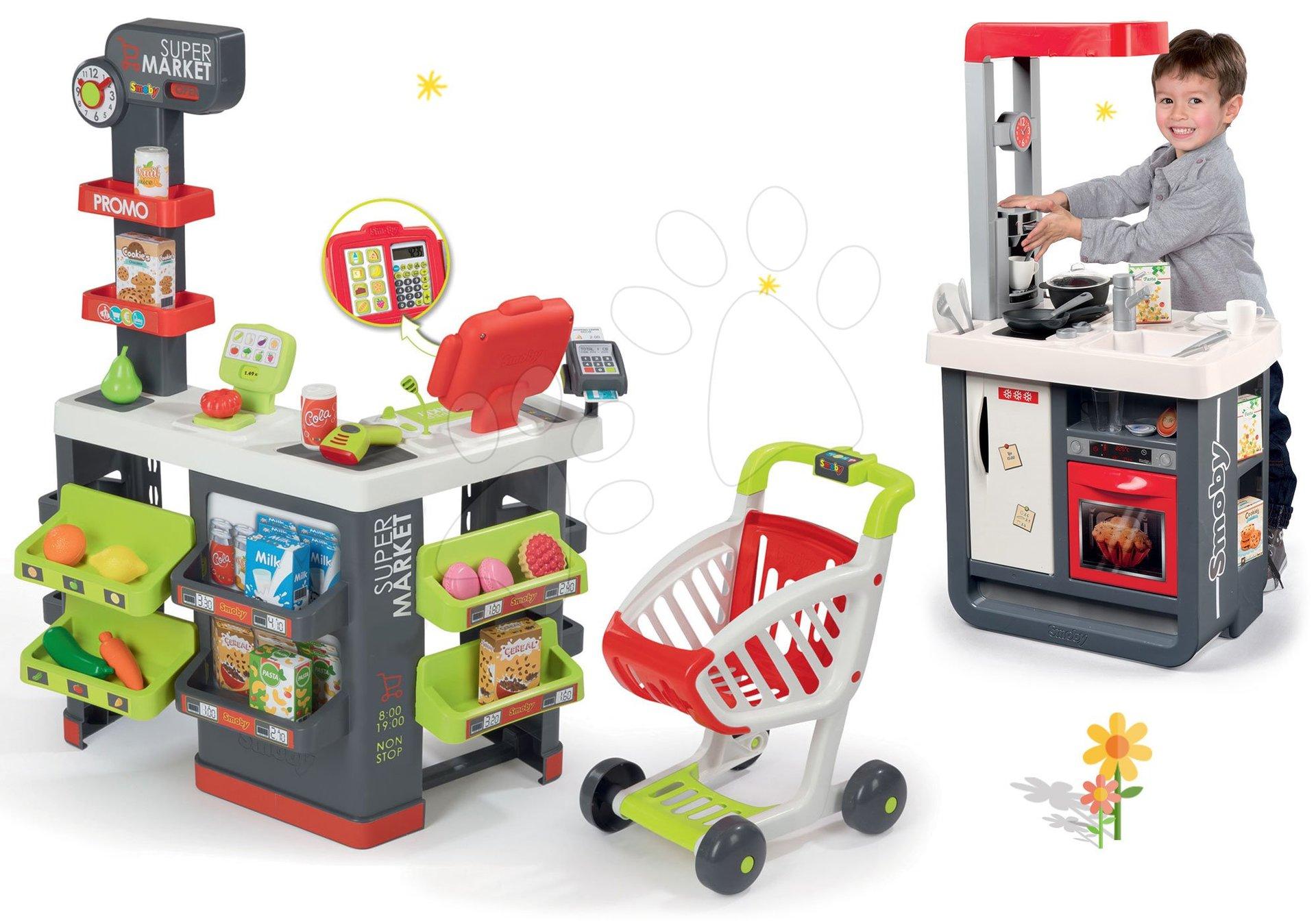 Smoby set obchod s vozíkem Supermarket a kuchyňka Gourmande s chladničkou a kávovarom 350213-2