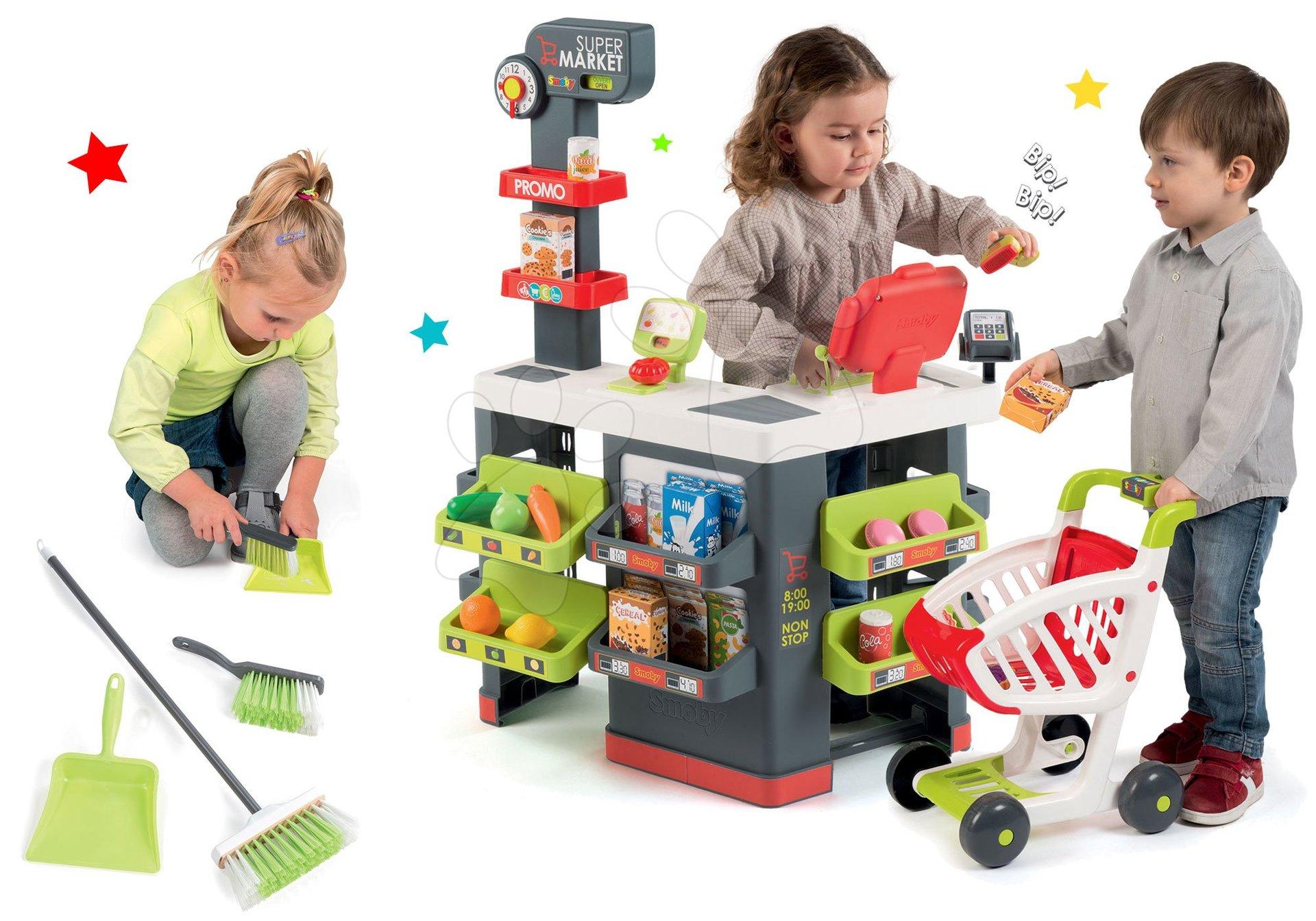 Obchody pre deti - Set obchod Supermarket Smoby s elektronickou pokladňou a upratovací set