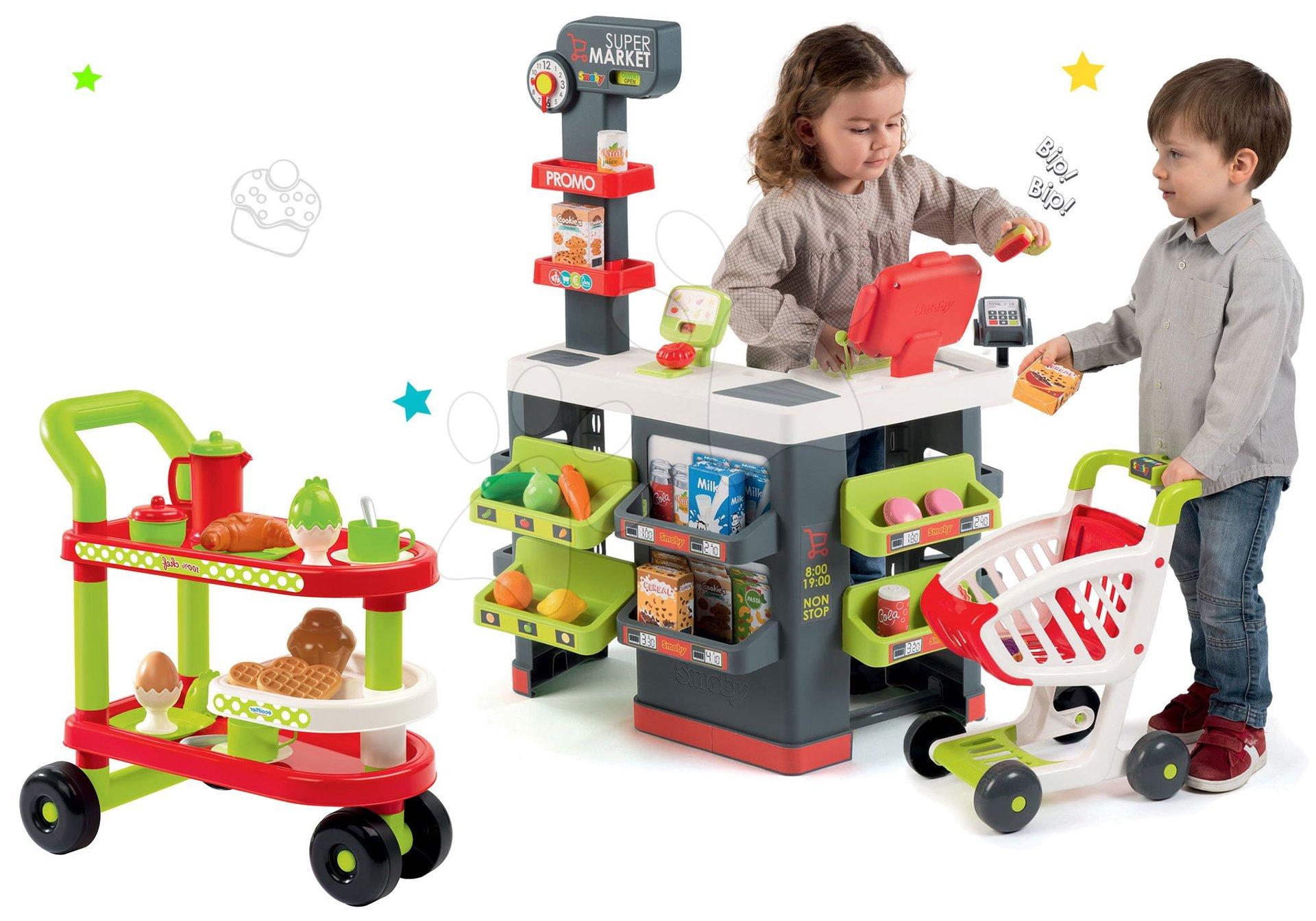 Smoby set obchod Supermarket s pokladňou a servírovací vozík 350213-21