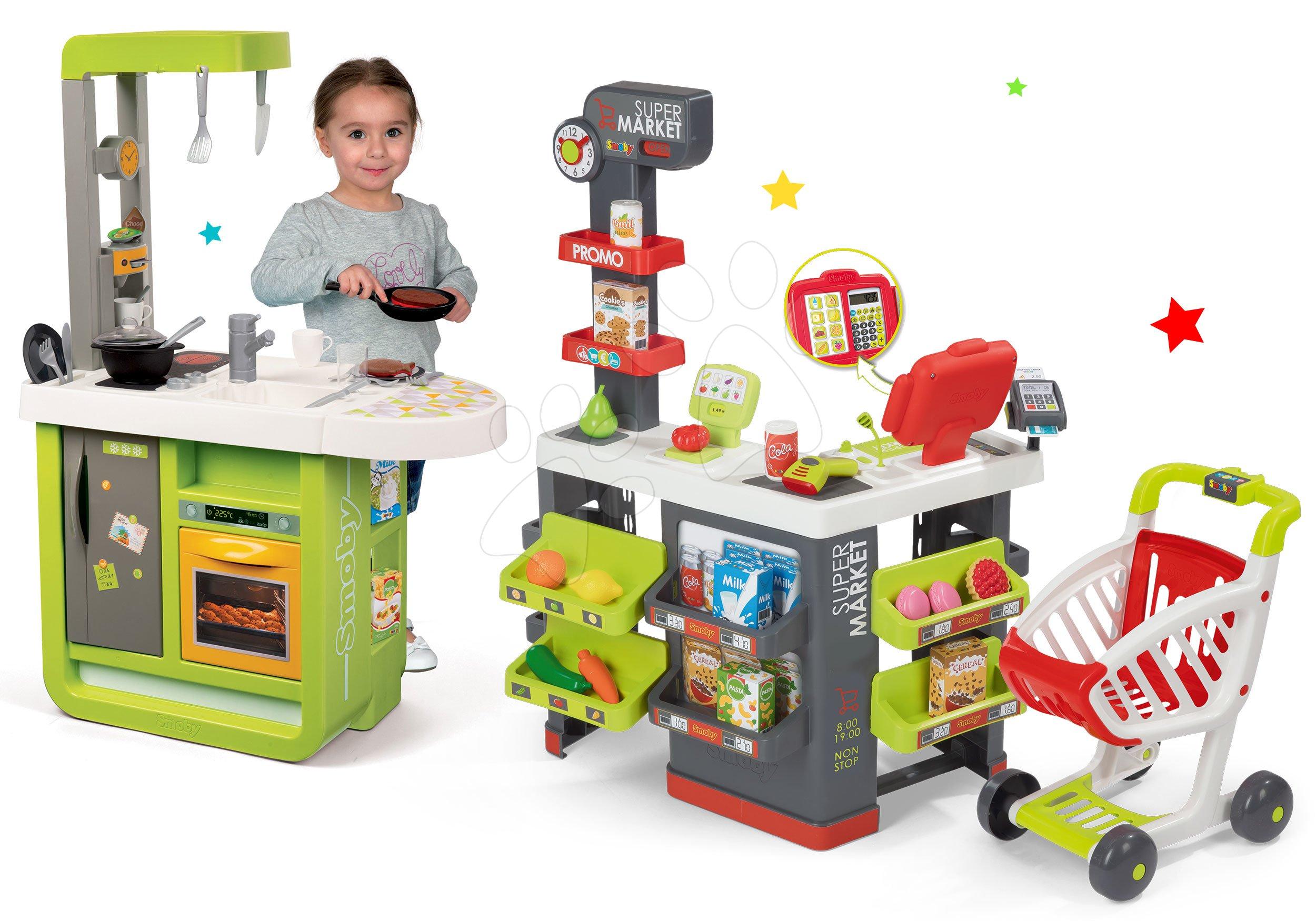 Obchody pre deti sety - Set obchod Supermarket Smoby s elektronickou pokladňou a kuchynka Cherry so zvukmi