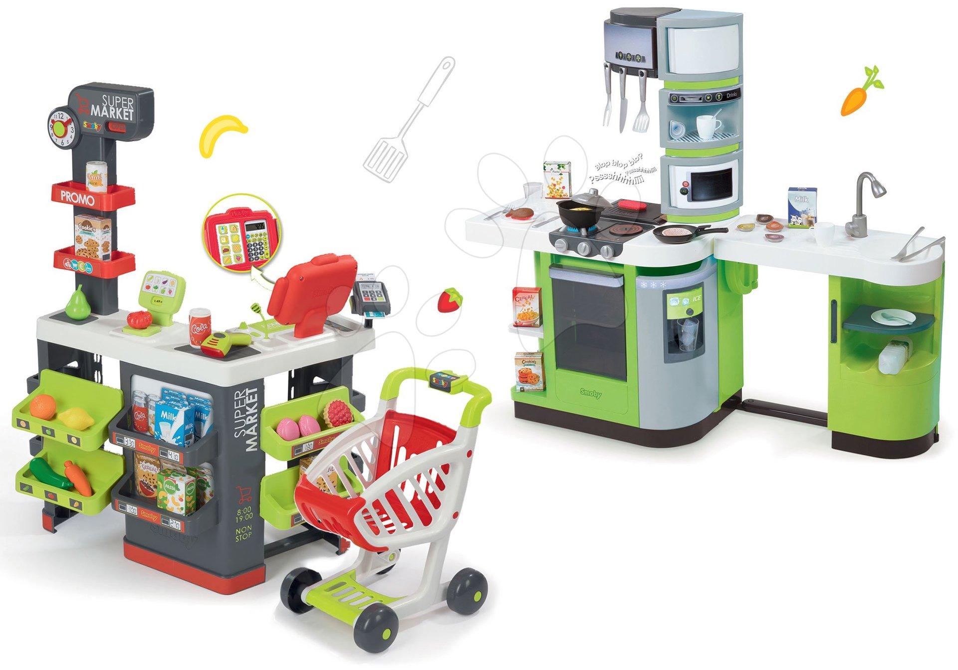 Obchody pre deti sety - Set obchod Supermarket Smoby s elektronickou pokladňou a kuchynka Cookmaster Verte s ľadom