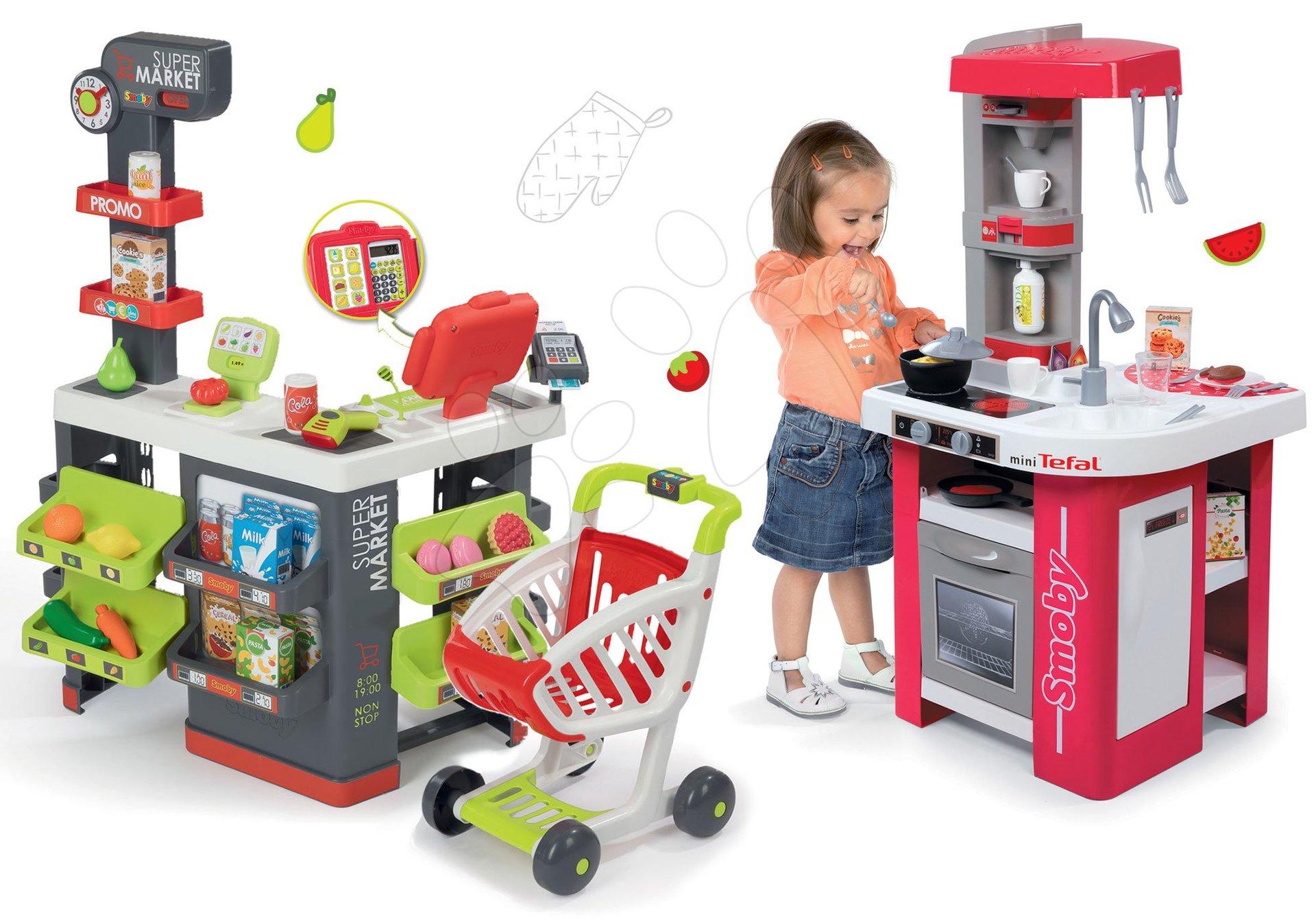 Smoby set obchod Supermarket s pokladnou a kuchyňka Studio Tefal 350213-25