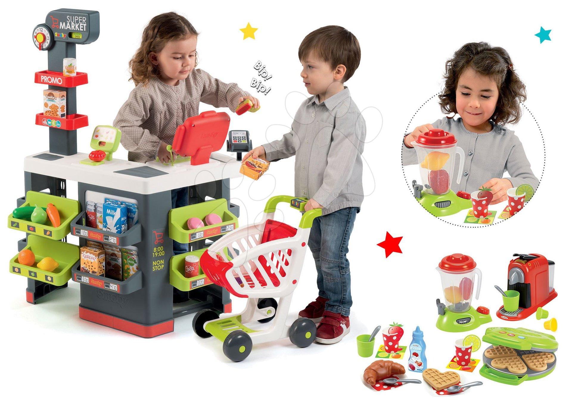 Set obchod Supermarket Smoby s elektronickou pokladnou a vaflovač s mixérem a kávovarem
