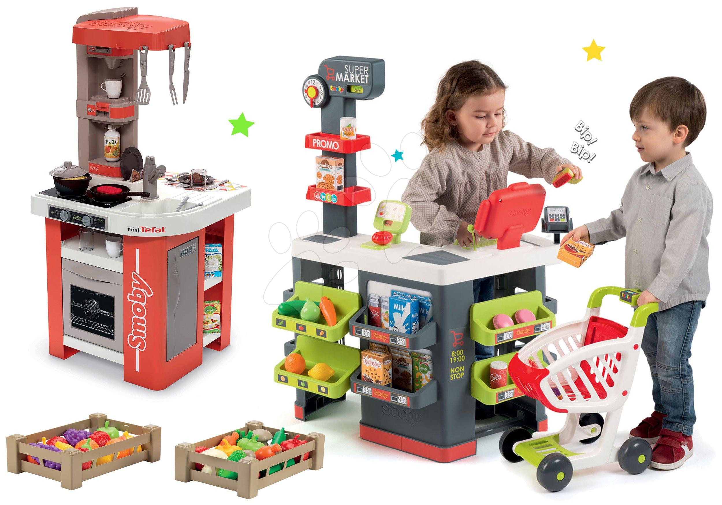 Smoby obchod Supermarket s pokladnou a kuchyňka Studio Tefal s potravinami 350213-27