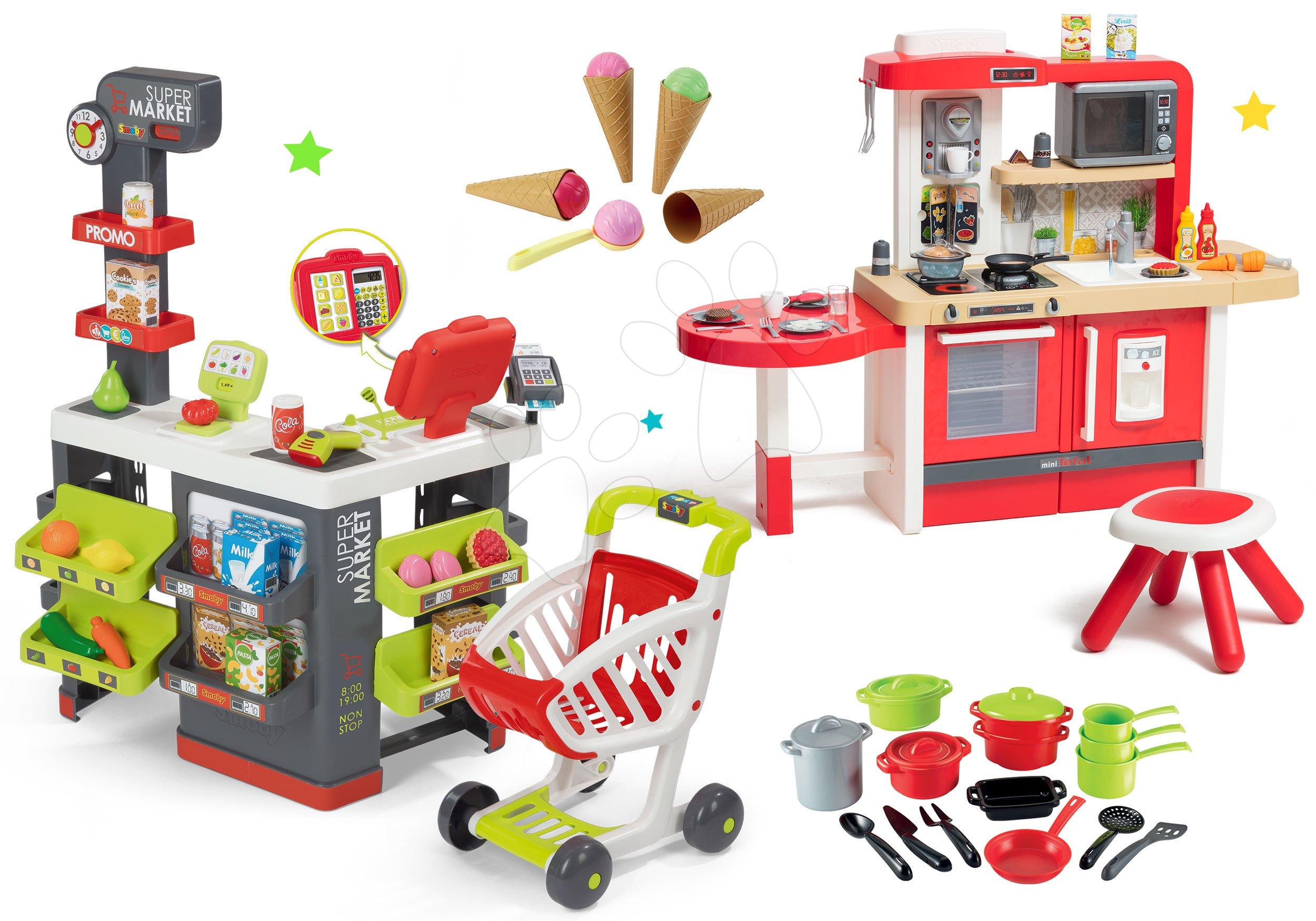 Smoby set obchod Supermarket s pokladnou a kuchyňka Superchef s hrnci a zmrzlinou 350213-28