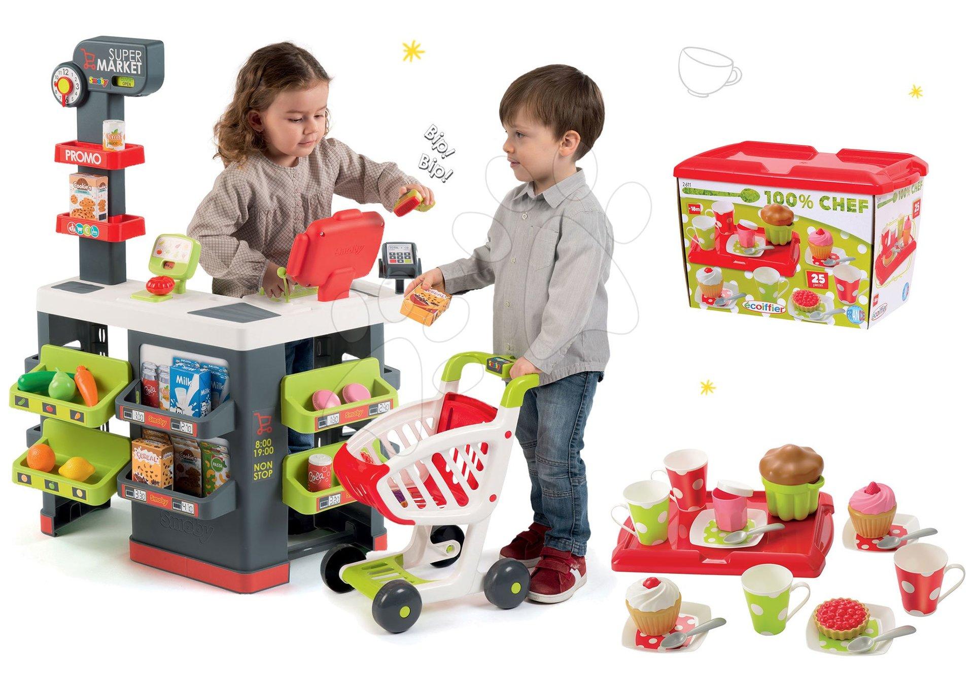 Smoby obchod Supermarket s pokladnou a Écoiffier čajová souprava 350213-29