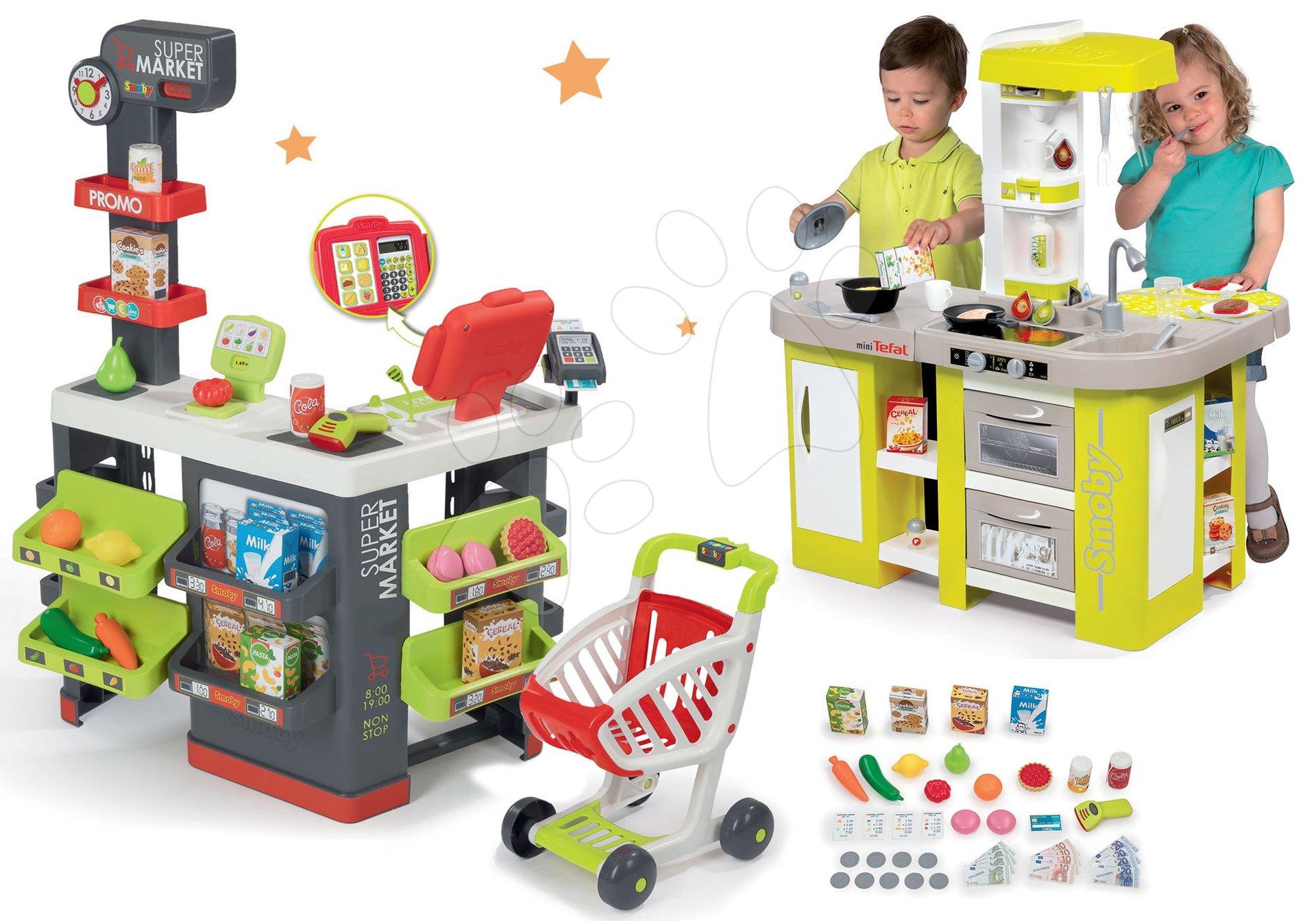 Smoby set obchod s vozíkem Supermarket a kuchyňka Tefal Studio XL s magickou těstovinou 350213-3