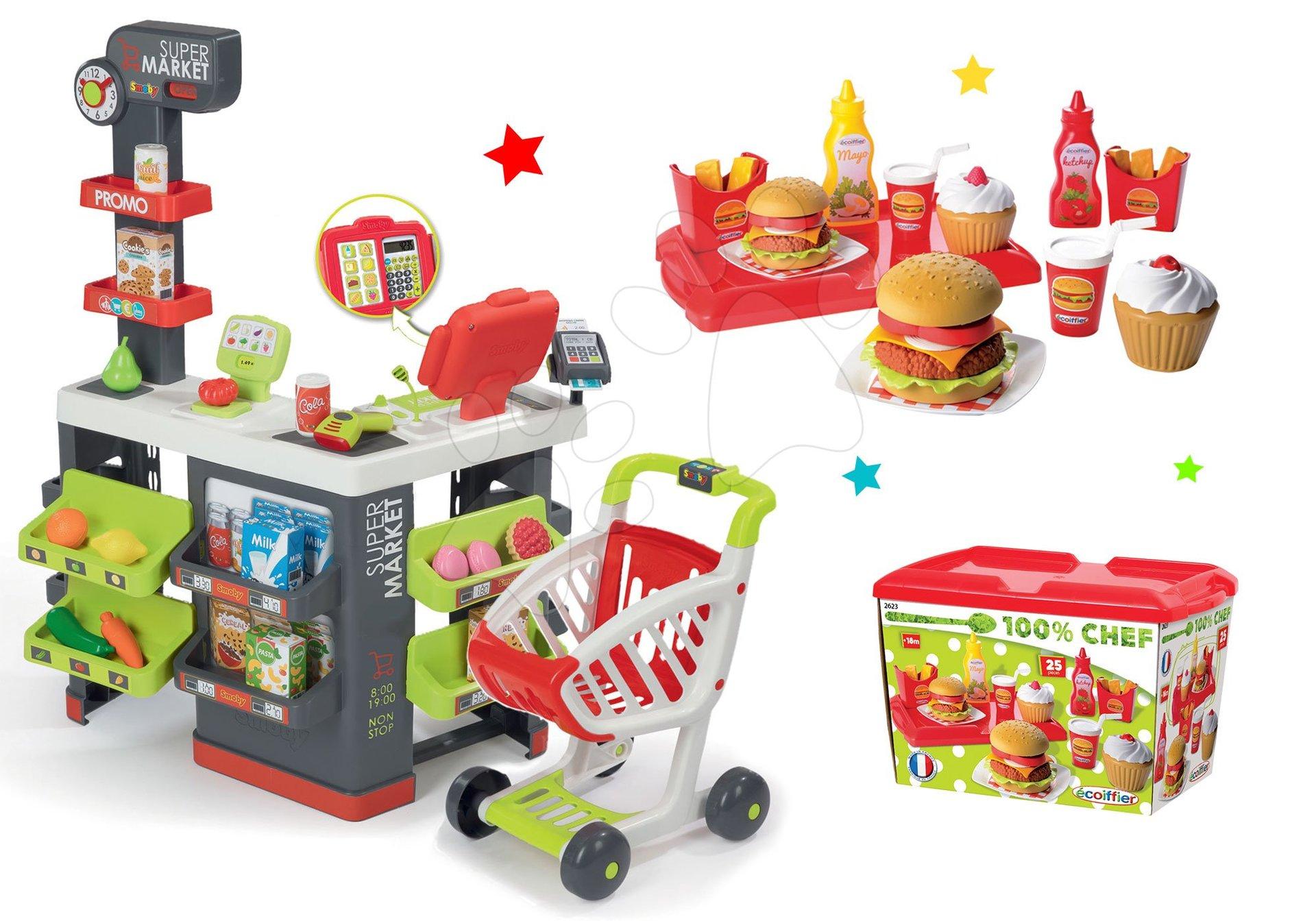 Smoby obchod Supermarket s pokladnou a Écoiffier hamburger set 350213-30
