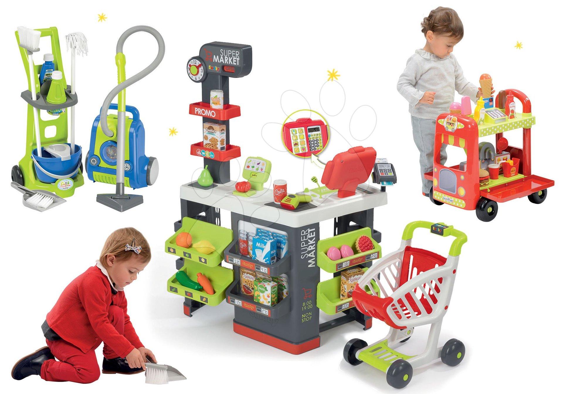 Obchody pre deti sety - Set obchod Supermarket Smoby s elektronickou pokladňou a vozík so zmrzlinou a upratovací set