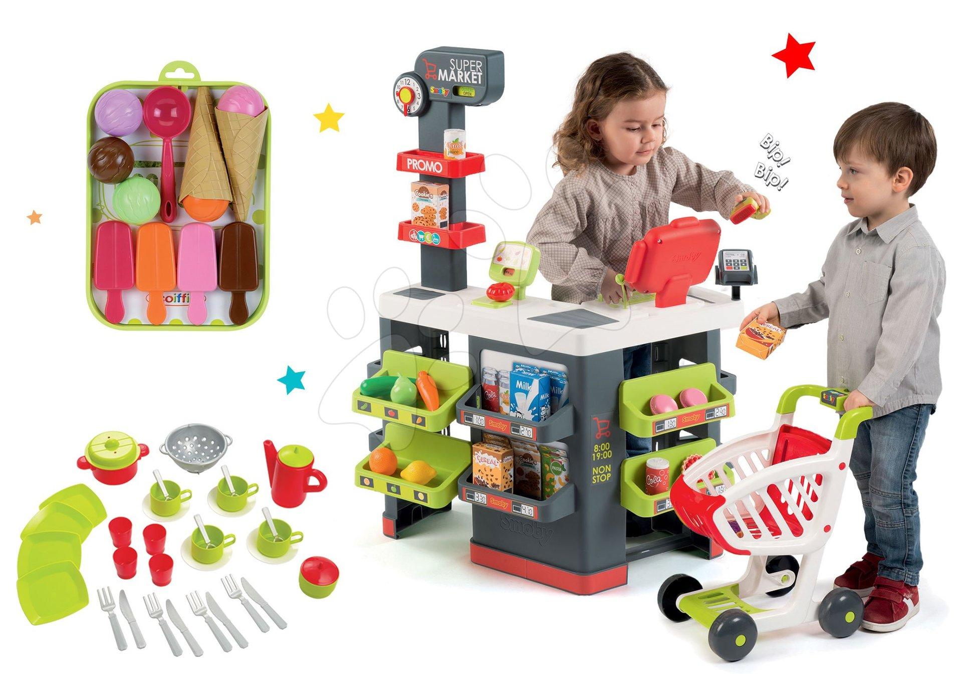 Set obchod Supermarket Smoby s elektronickou pokladnou a jídelní souprava a zmrzlina
