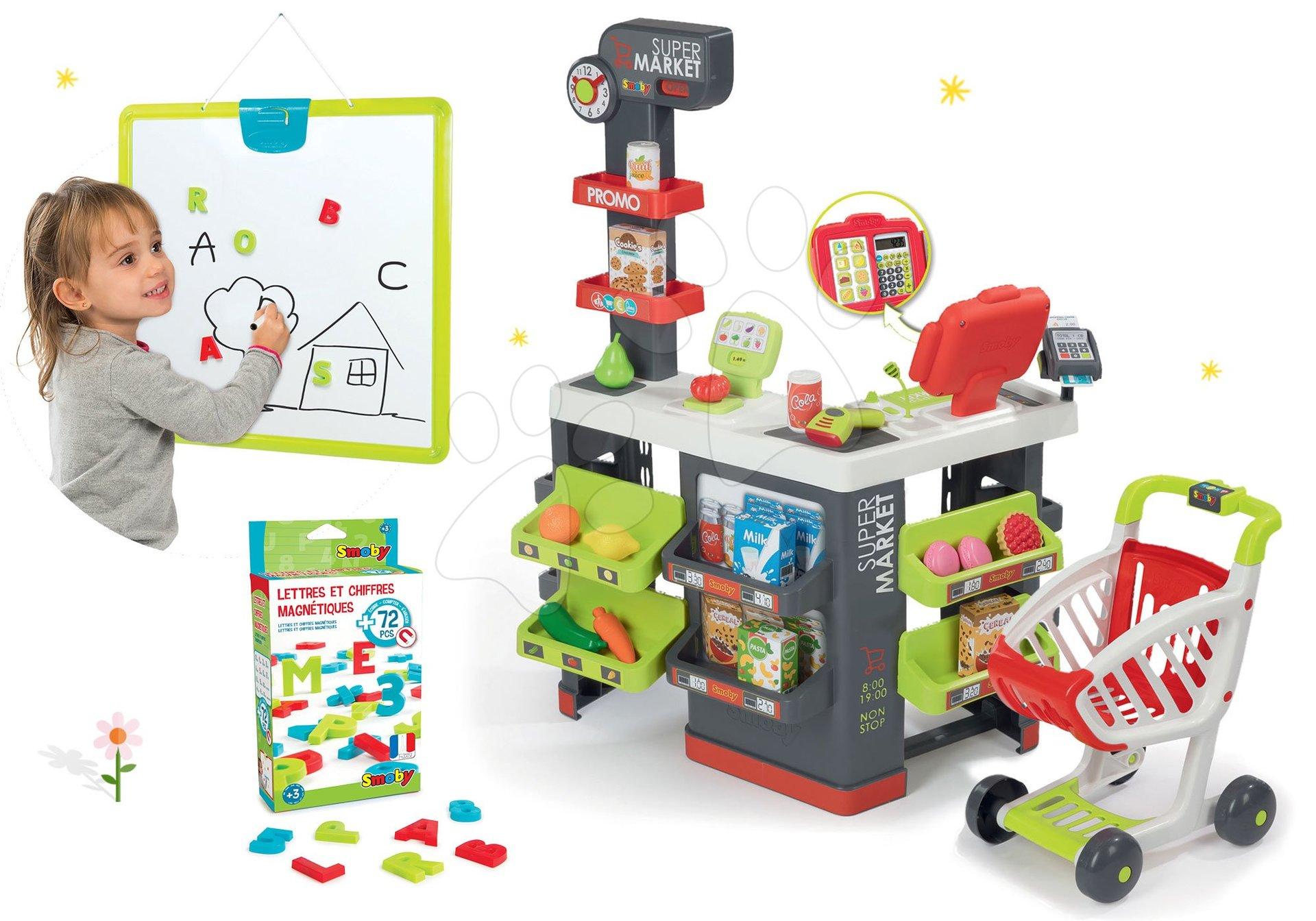 Smoby obchod Supermarket s pokladnou a magnetická tabule s magnetkami 350213-33