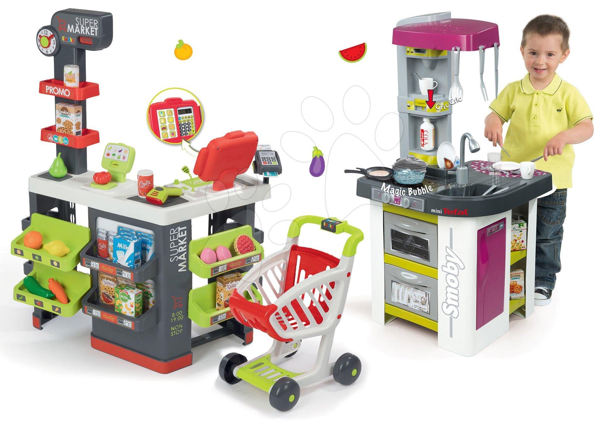 Smoby obchod Supermarket s pokladnou a kuchyňka Tefal 350213-34