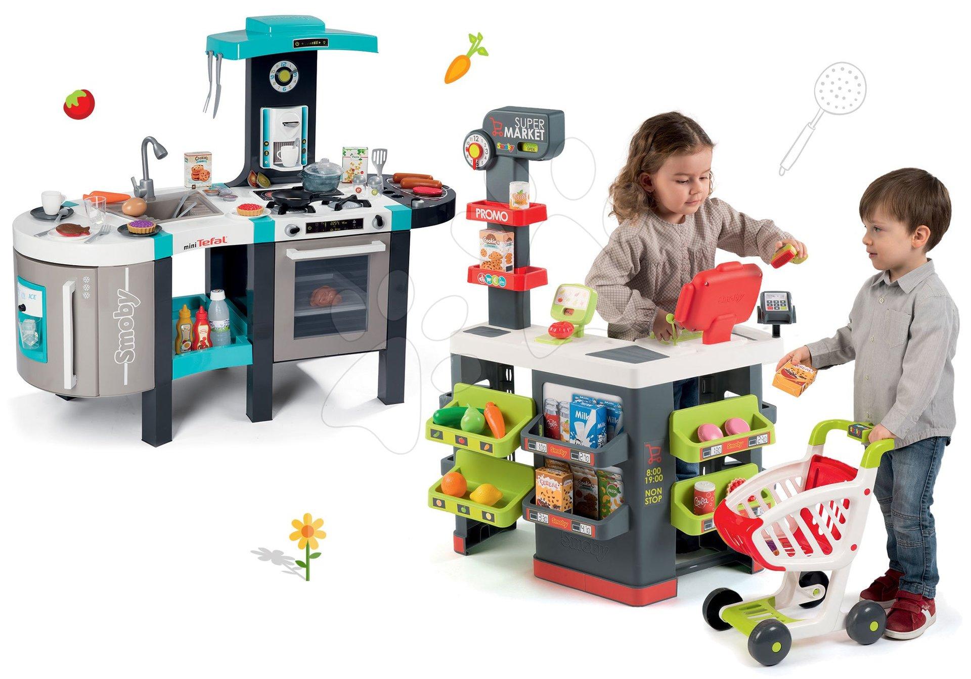 Set obchod Supermarket Smoby s elektronickou pokladnou a kuchyňka Tefal French Touch s magickým bubláním