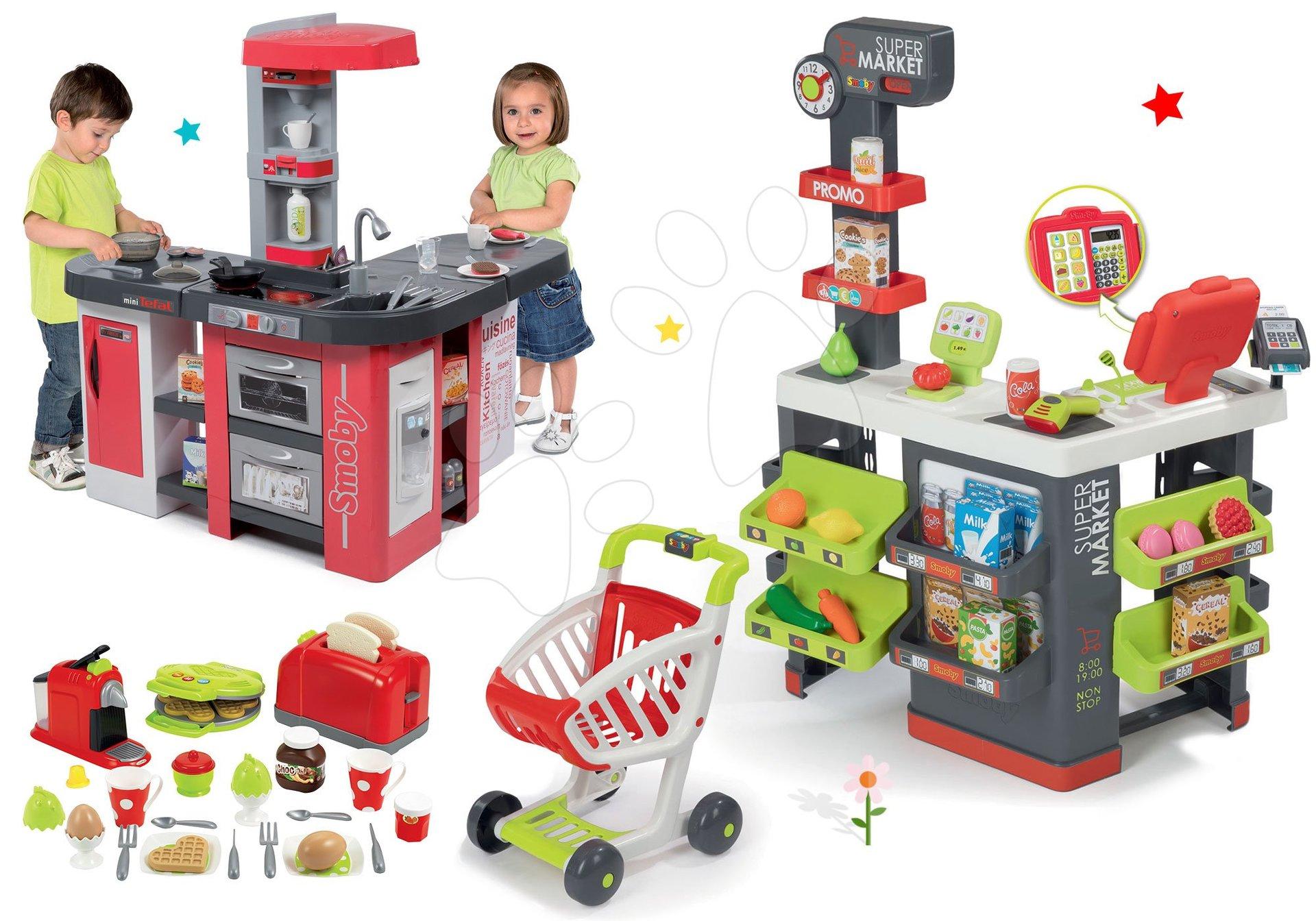 Smoby set obchod s vozíkem Supermarket a kuchyňka Tefal Studio XXL a topinkovač s vaflovačem 350213-4