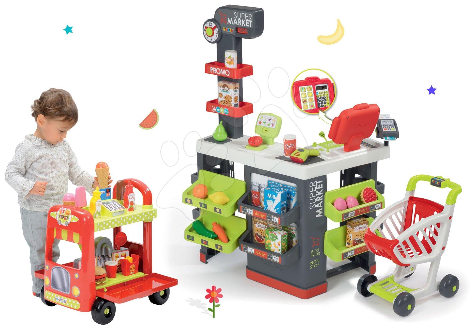 Trgovine kompleti - Komplet trgovina z vozičkom Supermarket Smoby in sladoledarski voziček s hamburgerji