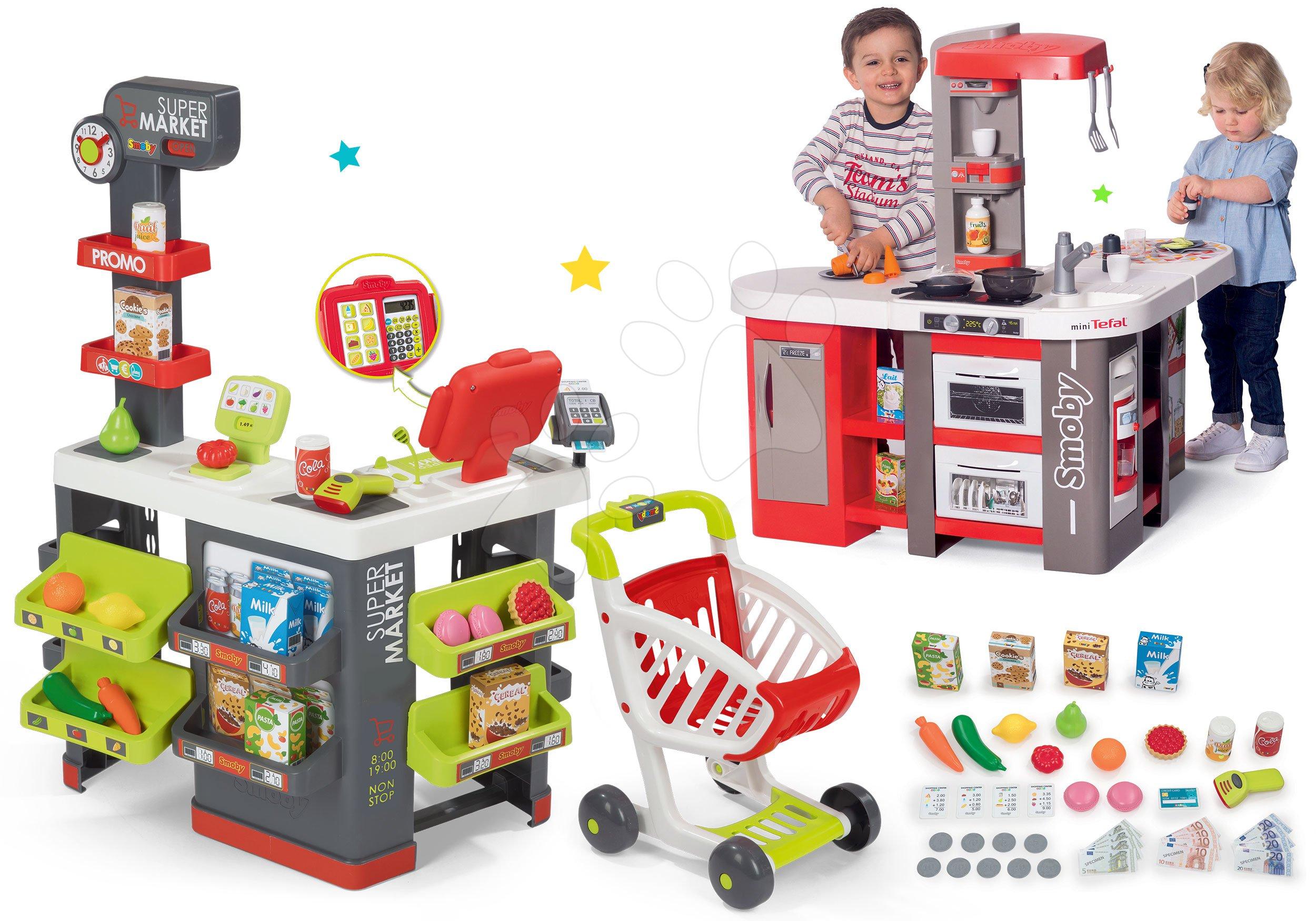 Smoby set obchod s vozíkem Supermarket a kuchyňka Tefal Super Chef Deluxe zvuková a bublající 350213-6