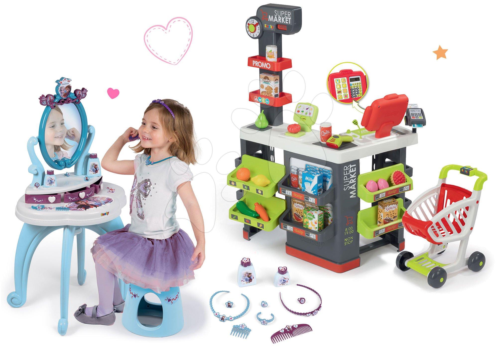 Smoby set obchod s vozíkem Supermarket a kosmetický stolek Princezny 2v1 s židlí 350213-7