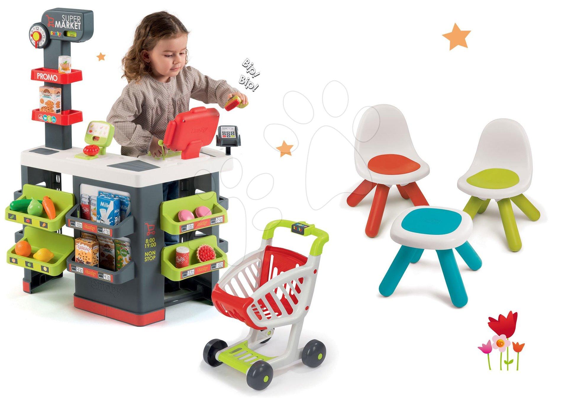 Smoby set obchod s vozíkem Supermarket a stolek s dvěma židlemi 350213-8
