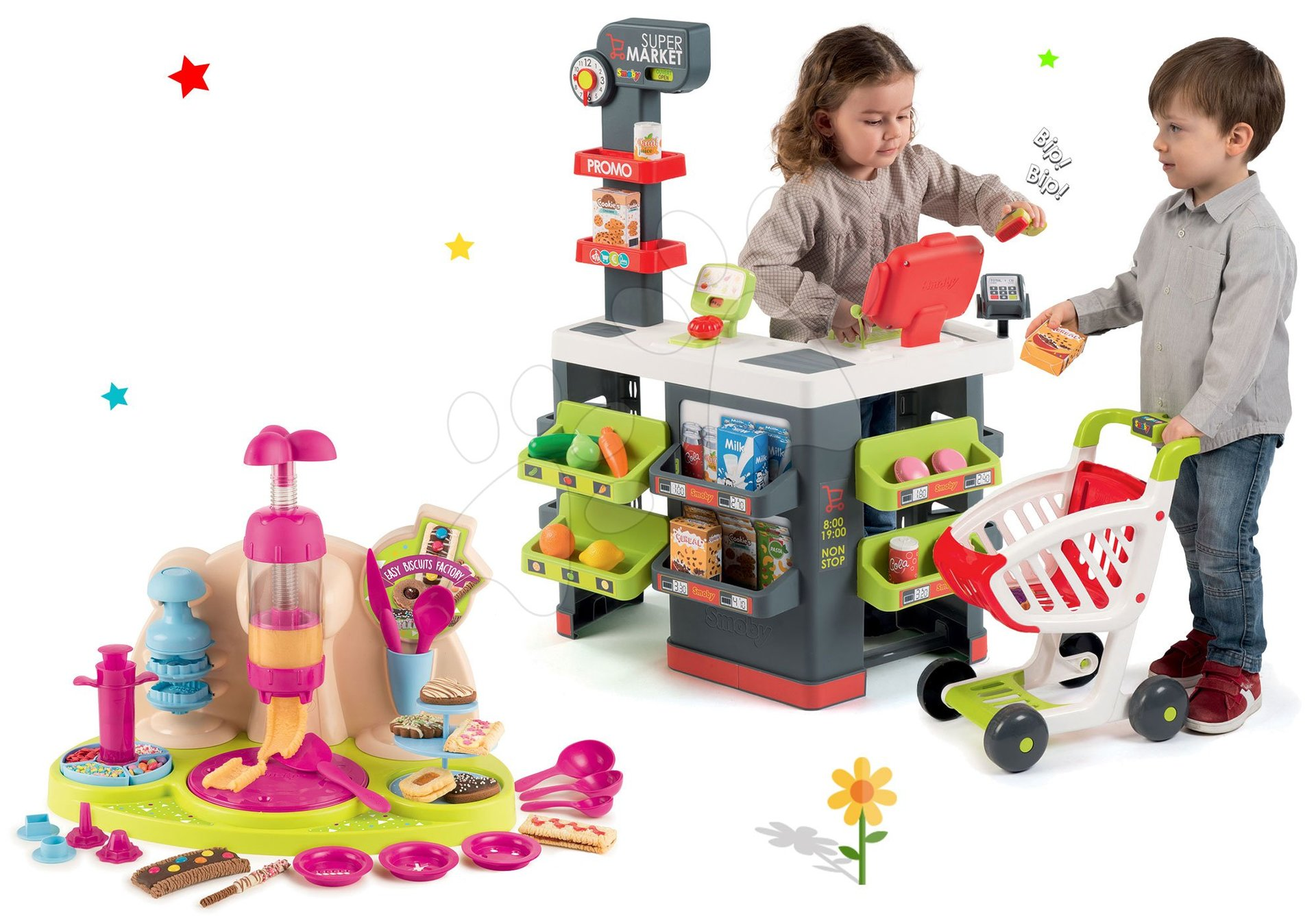 Smoby set obchod s vozíkem Supermarket a hravá kuchařka Chef Pečeme koláče 350213-9