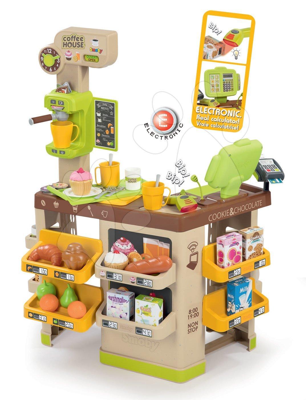 Obchody pre deti - Kaviareň s Espresso kávovarom Coffee House Smoby s elektronickou pokladňou, skenerom a 57 doplnkov