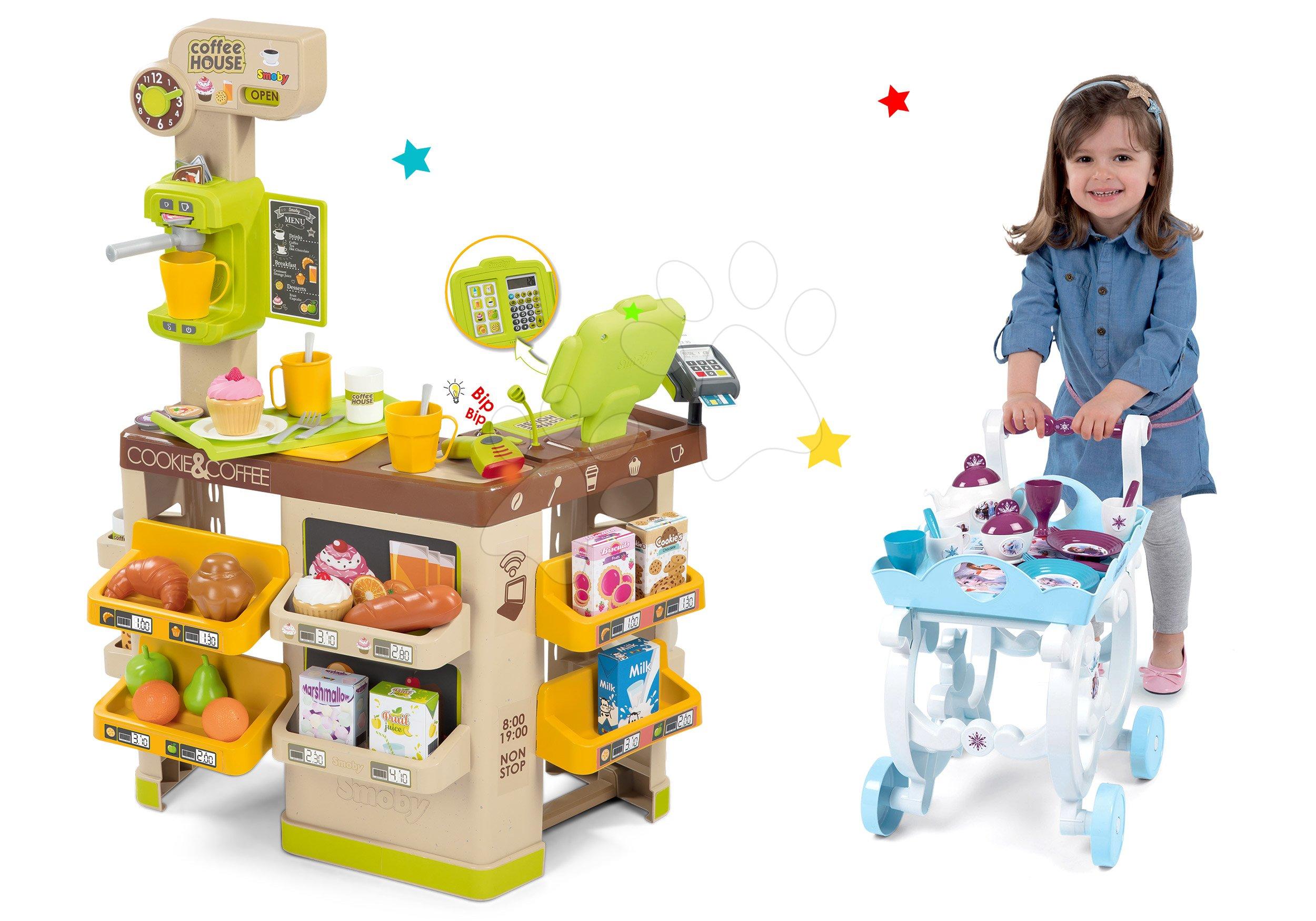 Obchody pre deti sety - Set kaviareň s Espresso kávovarom Coffee House Smoby a servírovací vozík Frozen XL Tea Trolley