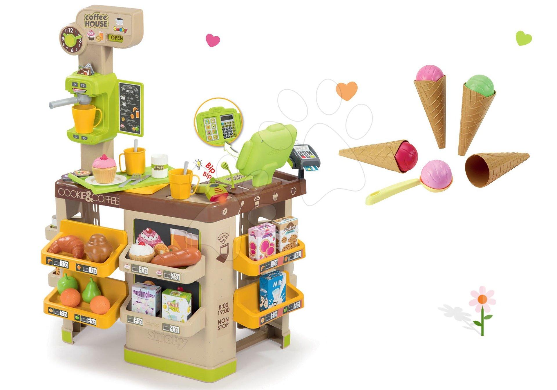 Obchody pro děti sety - Set kavárna s Espresso kávovarem Coffee House Smoby a zmrzlina s kornoutkem jako dárek