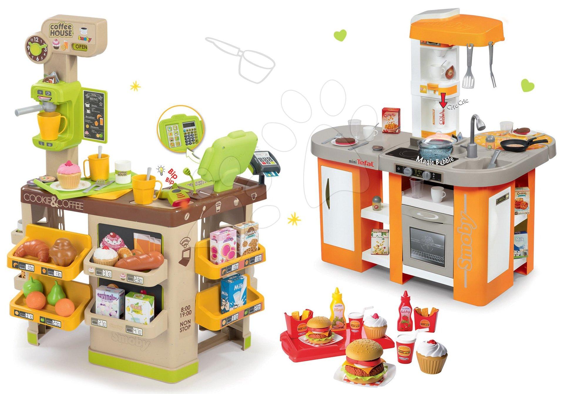Smoby set kaviareň s Espresso kávovarom a elektronická kuchynka XL Bubble a hamburger McDonald 350214-5