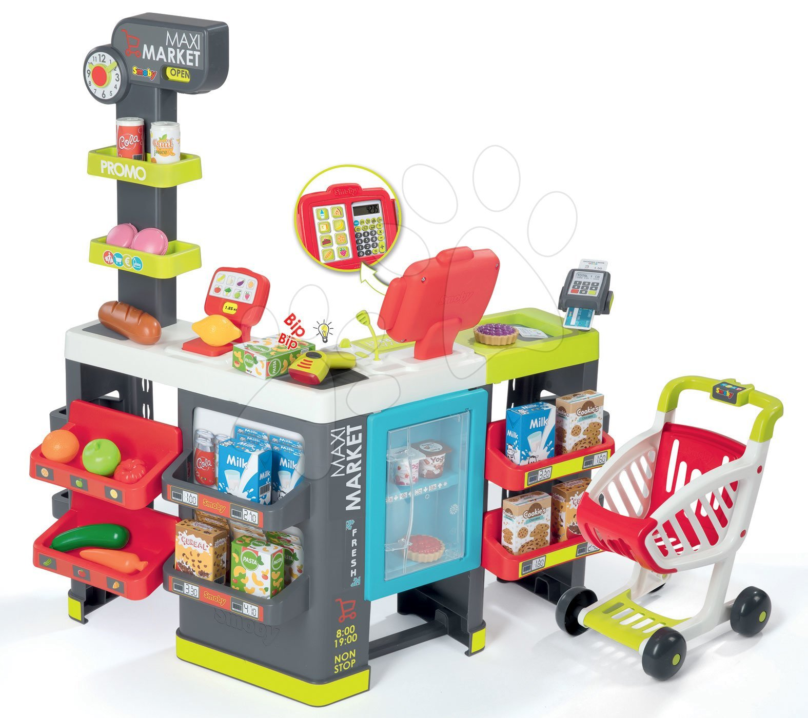 Supermarket mixt Maxi Market Smoby cu frigider, casă de marcat electronică, cititor de cod de bare şi 50 de accesorii