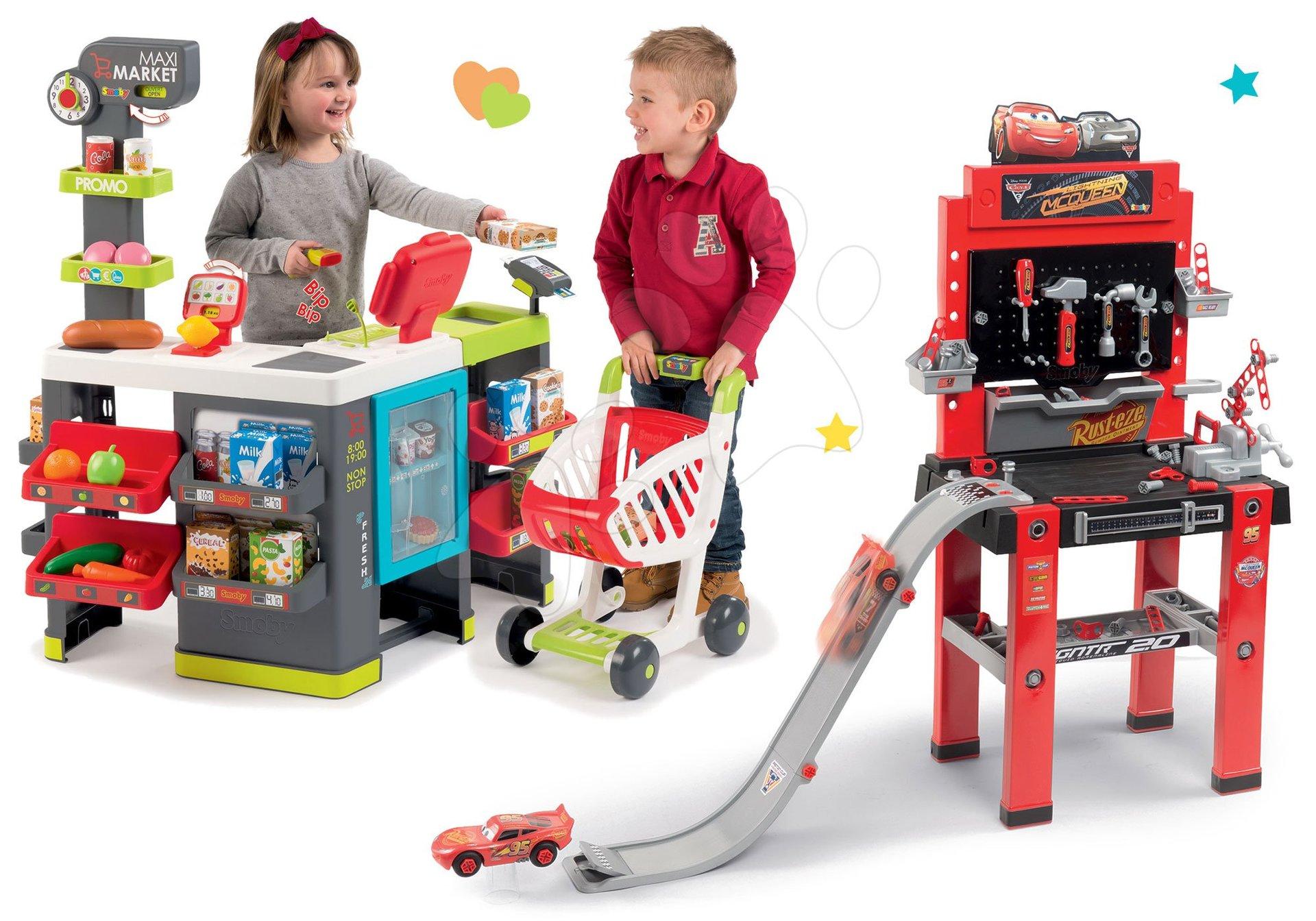 Smoby set obchod zmiešaný tovar Maximarket a pracovná dielňa Autá 3 Bricolo center 350215-10