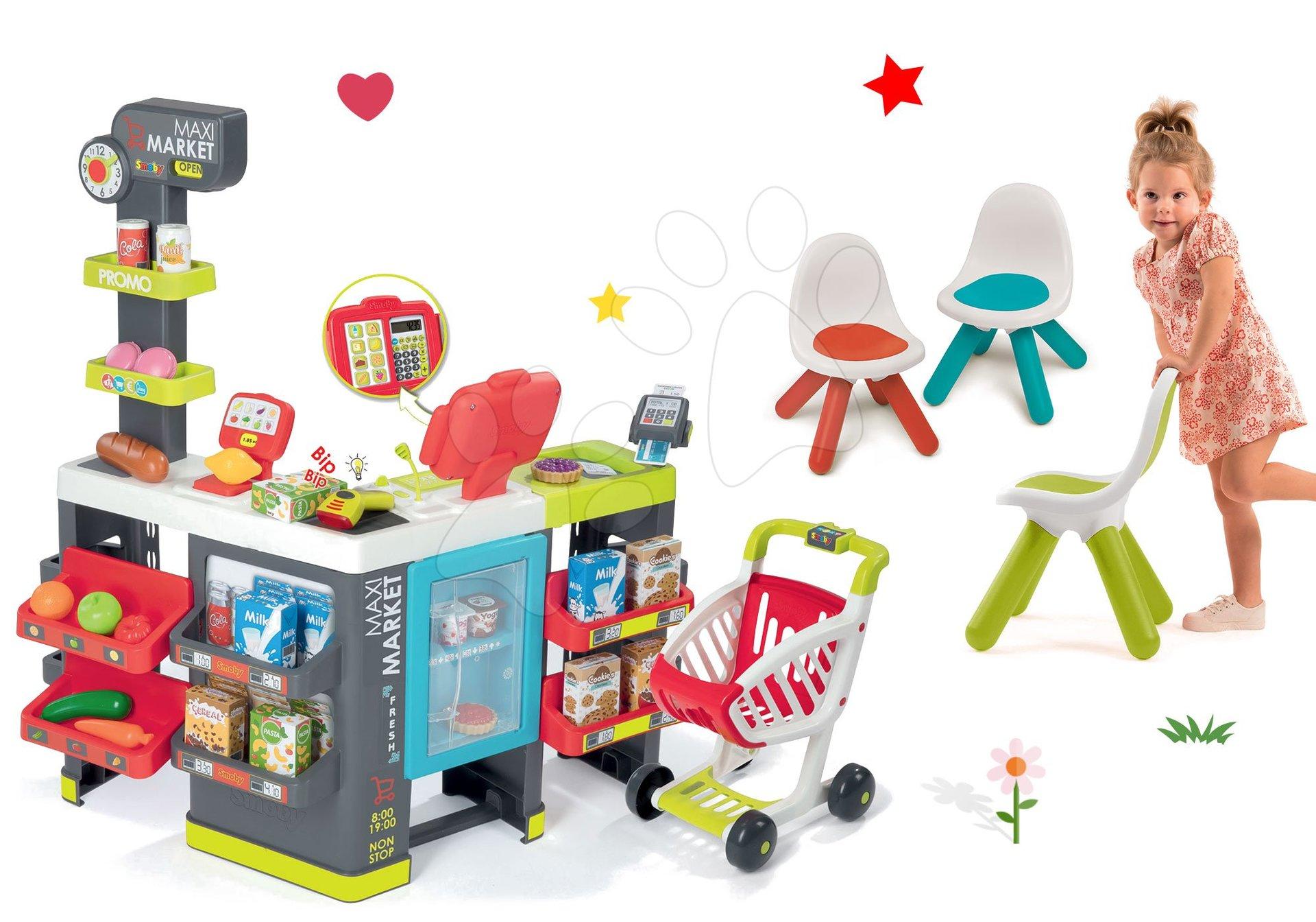 Smoby set obchod zmiešaný tovar Maximarket a stoličky KidChair červená, zelená a modrá 350215-11