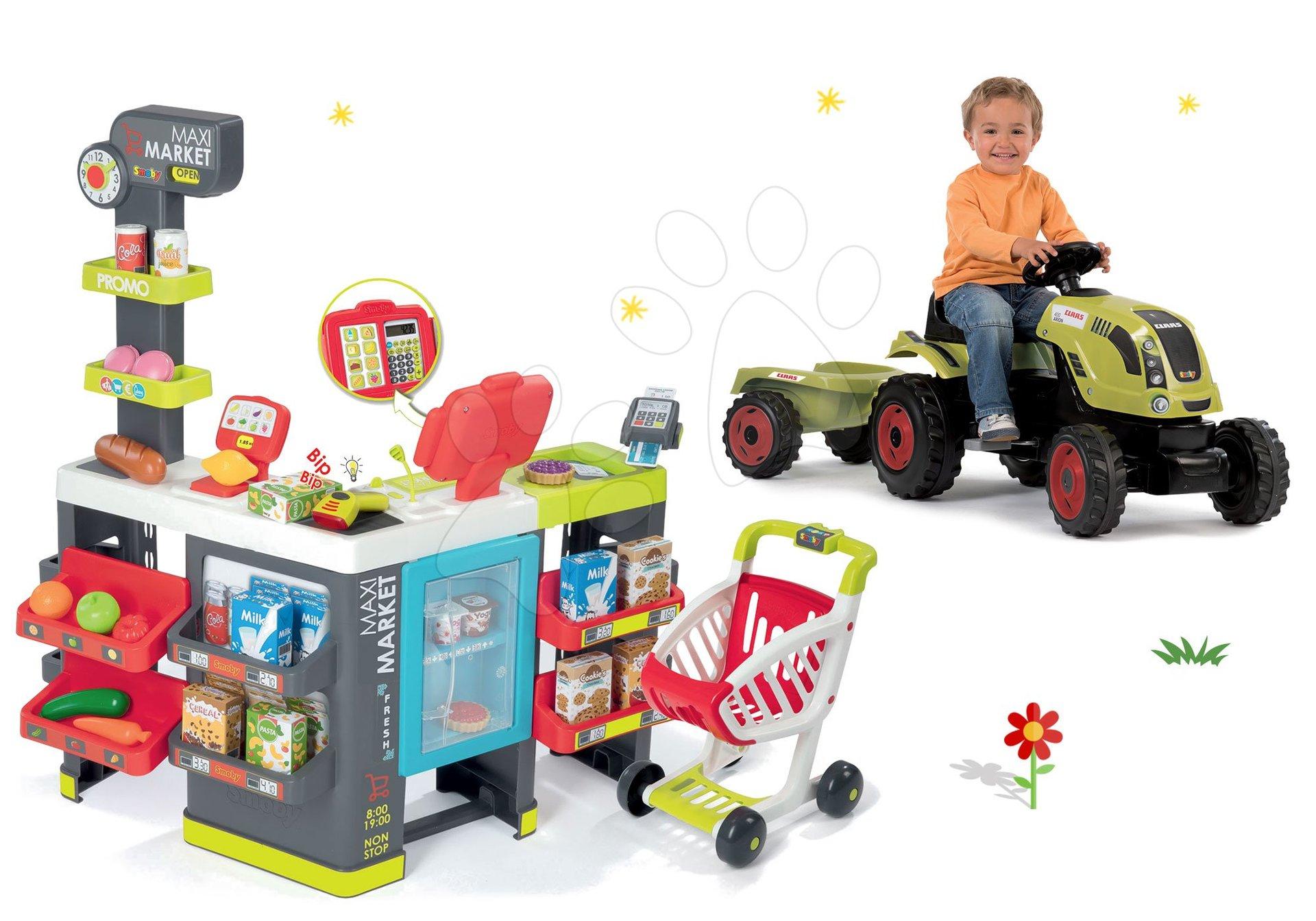 Smoby set obchod zmiešaný tovar Maximarket a traktor na šliapanie Claas Farmer XL Žaba 350215-12