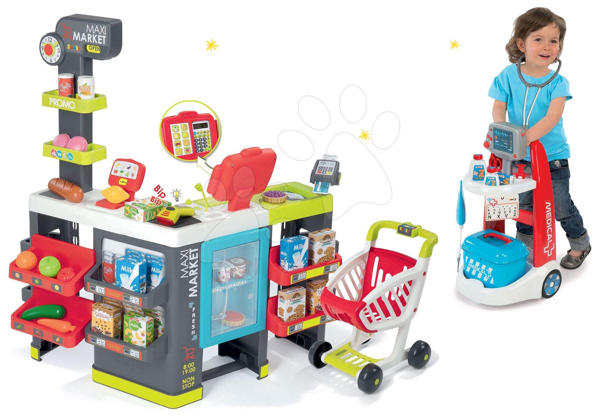 Smoby set obchod zmiešaný tovar Maximarket a lekársky vozík Medical elektronický 350215-13