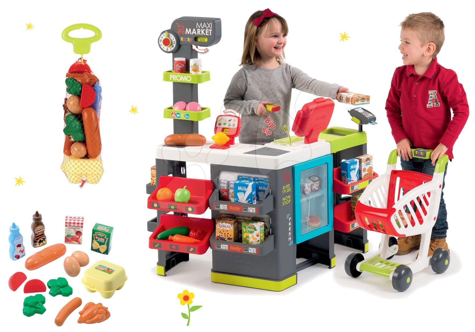 Smoby set obchod zmiešaný tovar Maximarket a potraviny v sieťke ako darček 350215-17