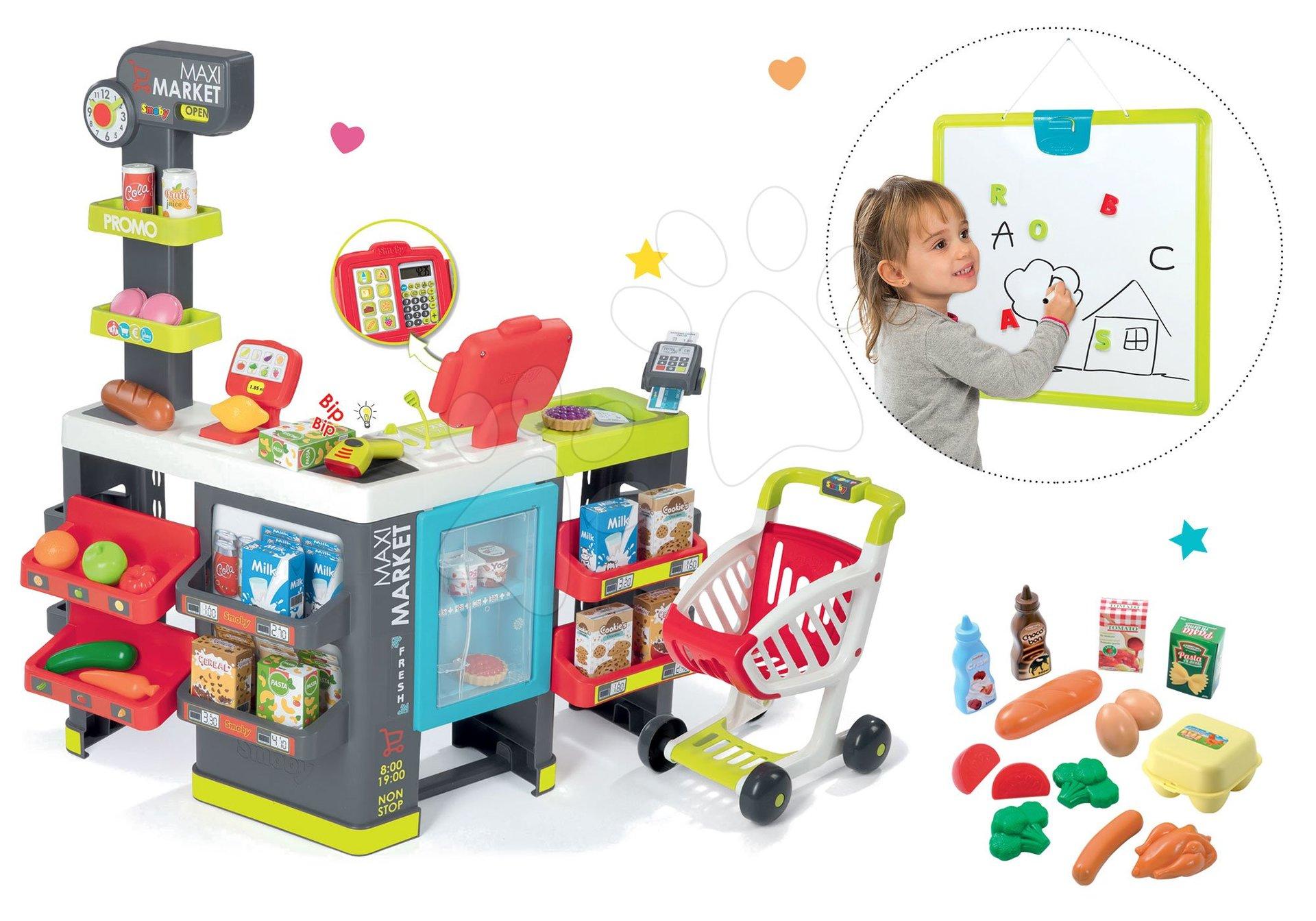 Set obchod Maxi Market Smoby s elektronickou pokladnou, magnetickou tabulí a potraviny v síťce Bubble Cook