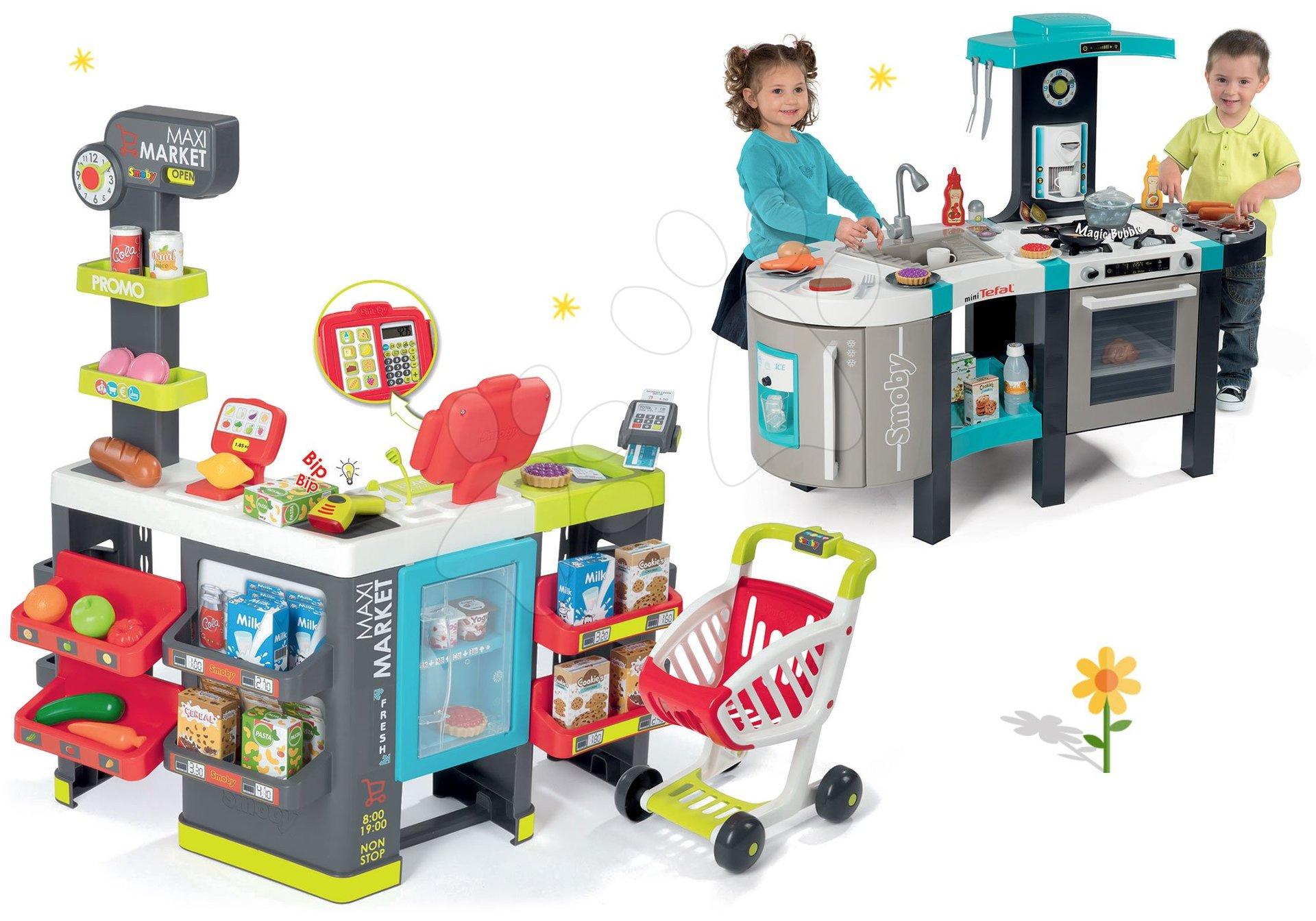 Smoby set obchod zmiešaný tovar Maximarket a kuchynka Tefal French Touch s bublajúcim hrncom 350215-2