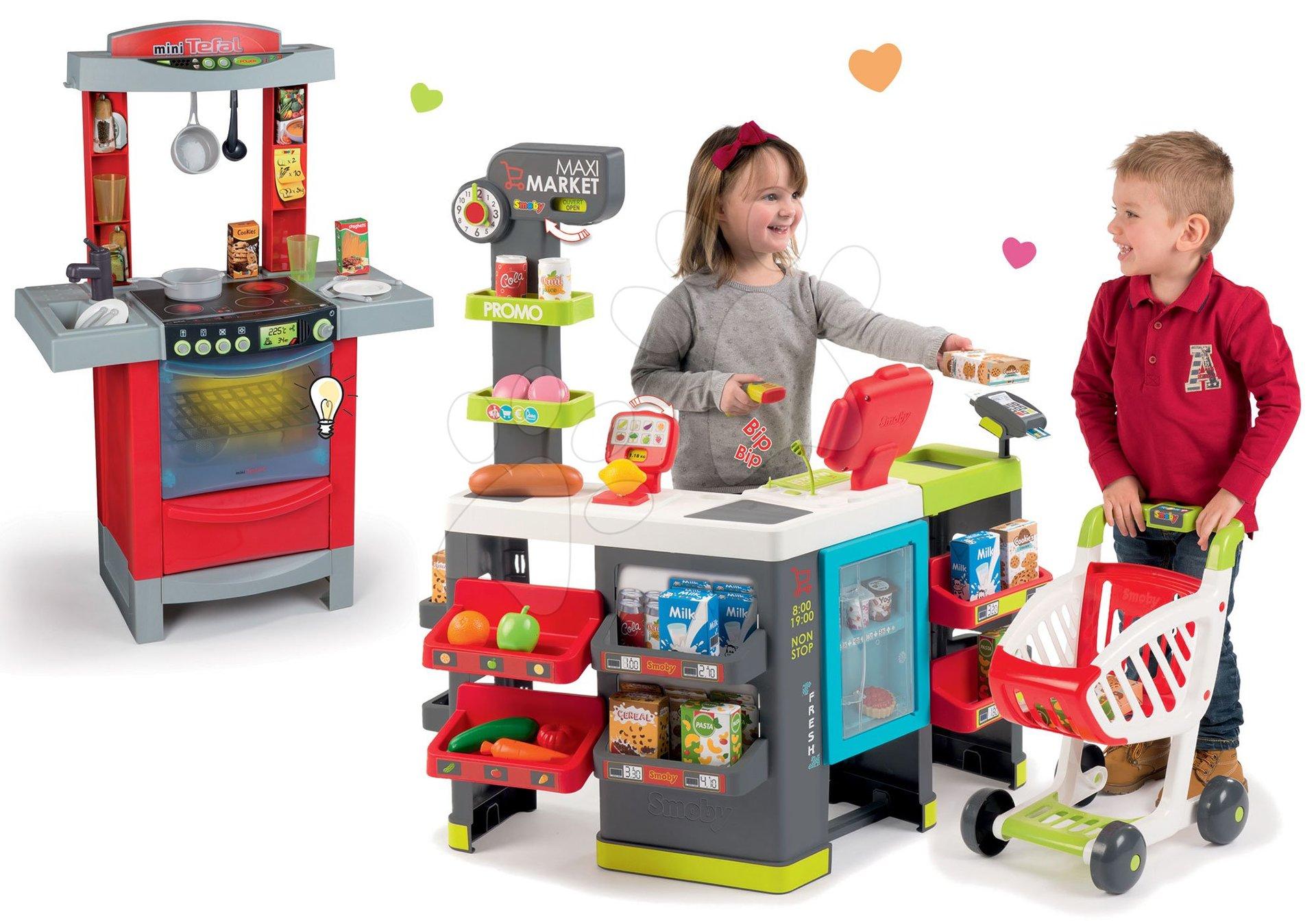 Obchody pre deti sety - Set obchod Maxi Market Smoby s elektronickou pokladňou a kuchynka Cook'Tronic Tefal so zvukmi a svetlom