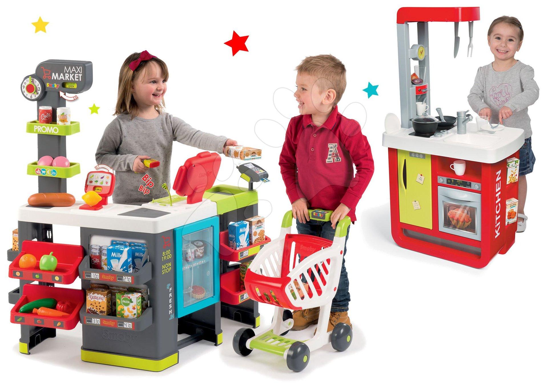 Set obchod Maxi Market Smoby s elektronickou pokladnou a vozíkem a kuchyňka Cherry Special se zvuky