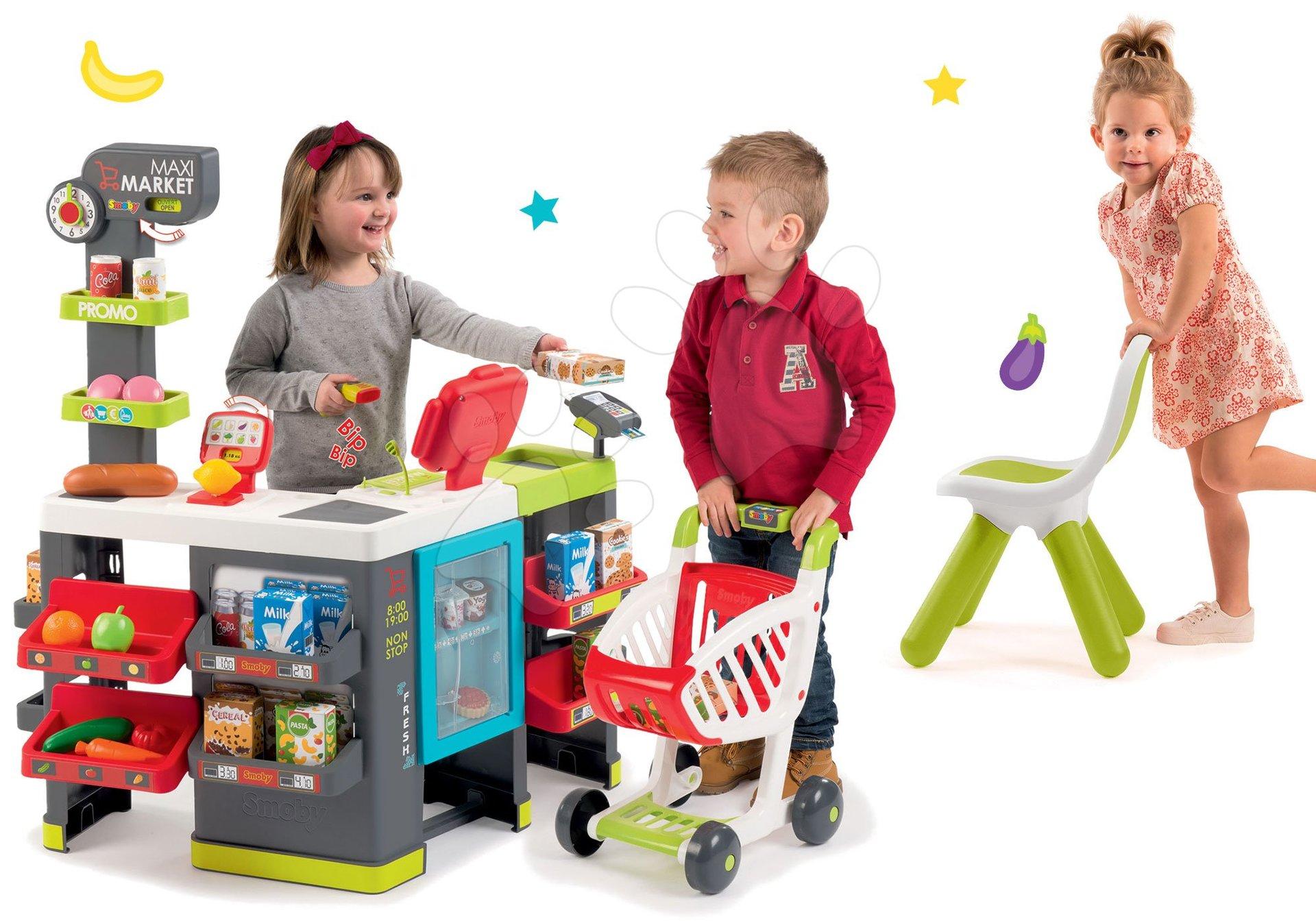 Smoby set obchod Maxi Market s pokladňou, vozíkom a zelenou stoličkou 350215-22