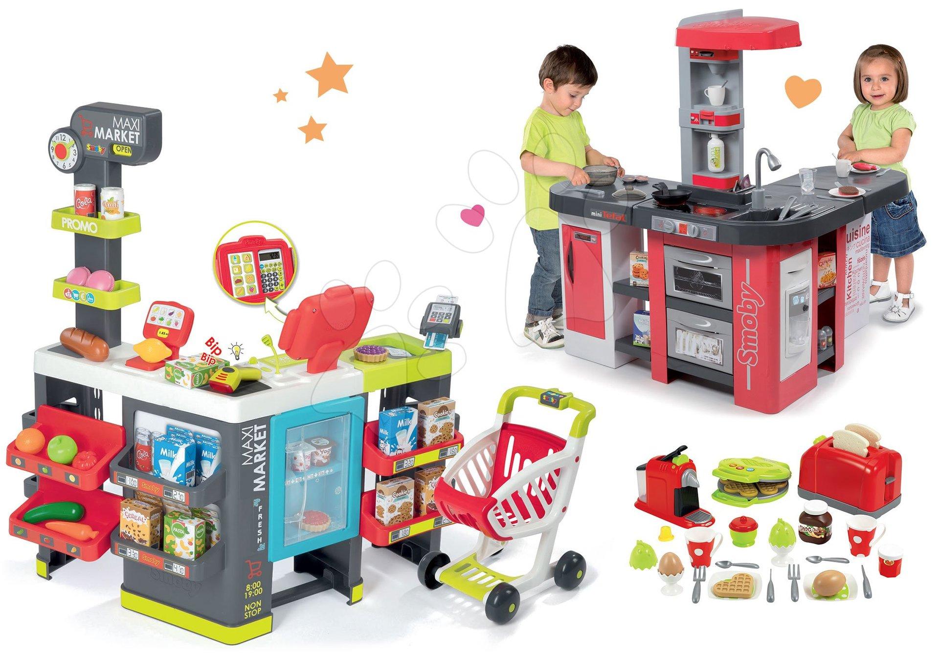 Smoby set obchod smíšené zboží Maximarket a kuchyňka Tefal Studio XXL Bubble a toaster s kávovarem a vaflovačem 350215-4