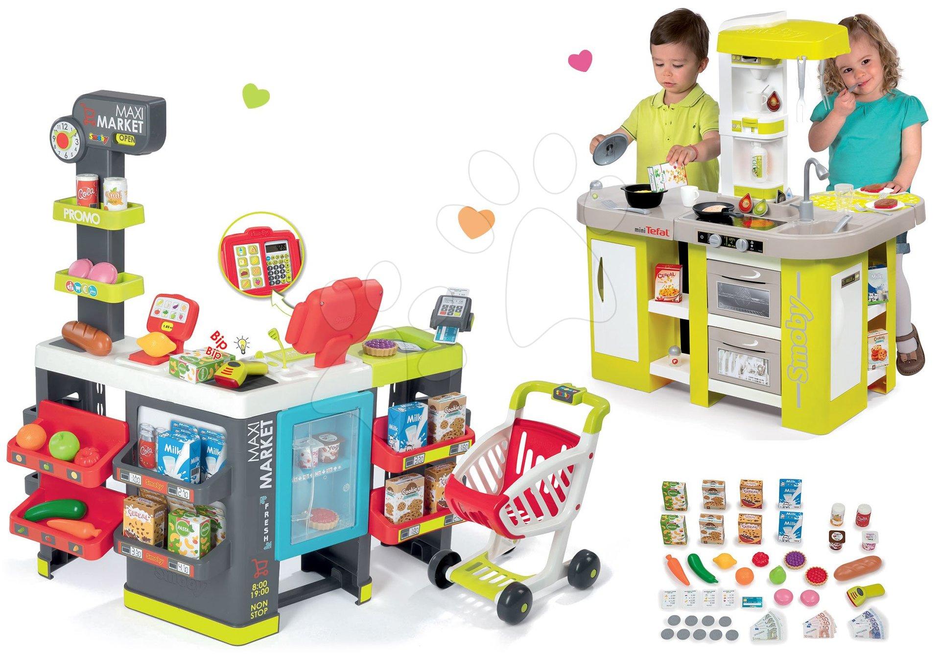 Smoby set obchod zmiešaný tovar Maximarket a kuchynka Tefal Studio XL zelená 350215-5