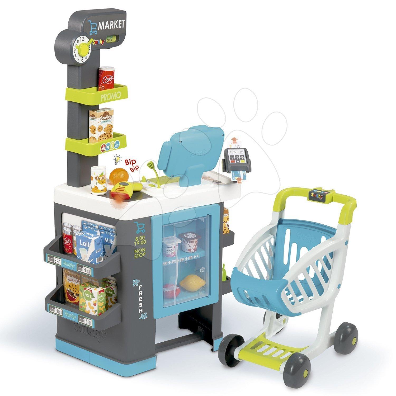 Obchody pro děti - Obchod s chladicím boxem Fresh City Market Smoby s elektronickou pokladnou skenerem a 34 doplňků