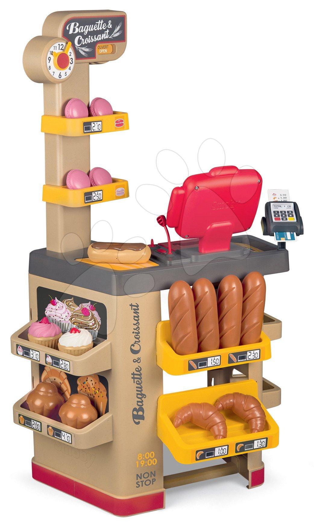 Pekárna s koláči Baguette&Croissant Bakery Smoby s elektronickou pokladnou hodinami a 26 doplňků