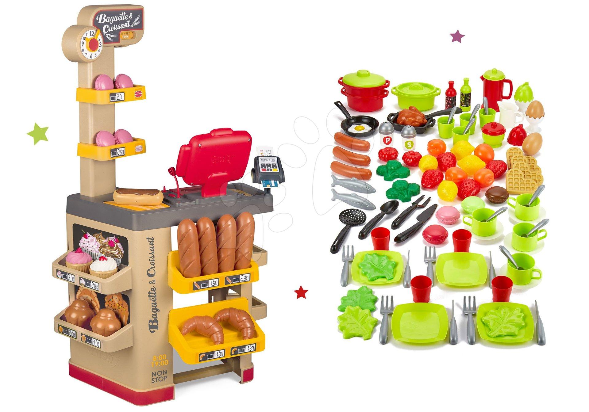 Set pekáreň s koláčmi Baguette&Croissant Bakery Smoby s elektronickou pokladňou a 100-dielna súprava ovocia, zeleniny a potraviny s riadom