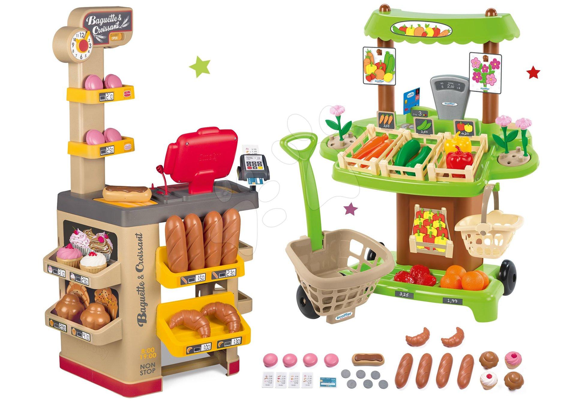 Obchody pro děti sety - Set pekárna s koláči Baguette&Croissant Bakery Smoby s elektronickou pokladnou a zeleninový Bio stánek s vozíkem Organic 100% Chef