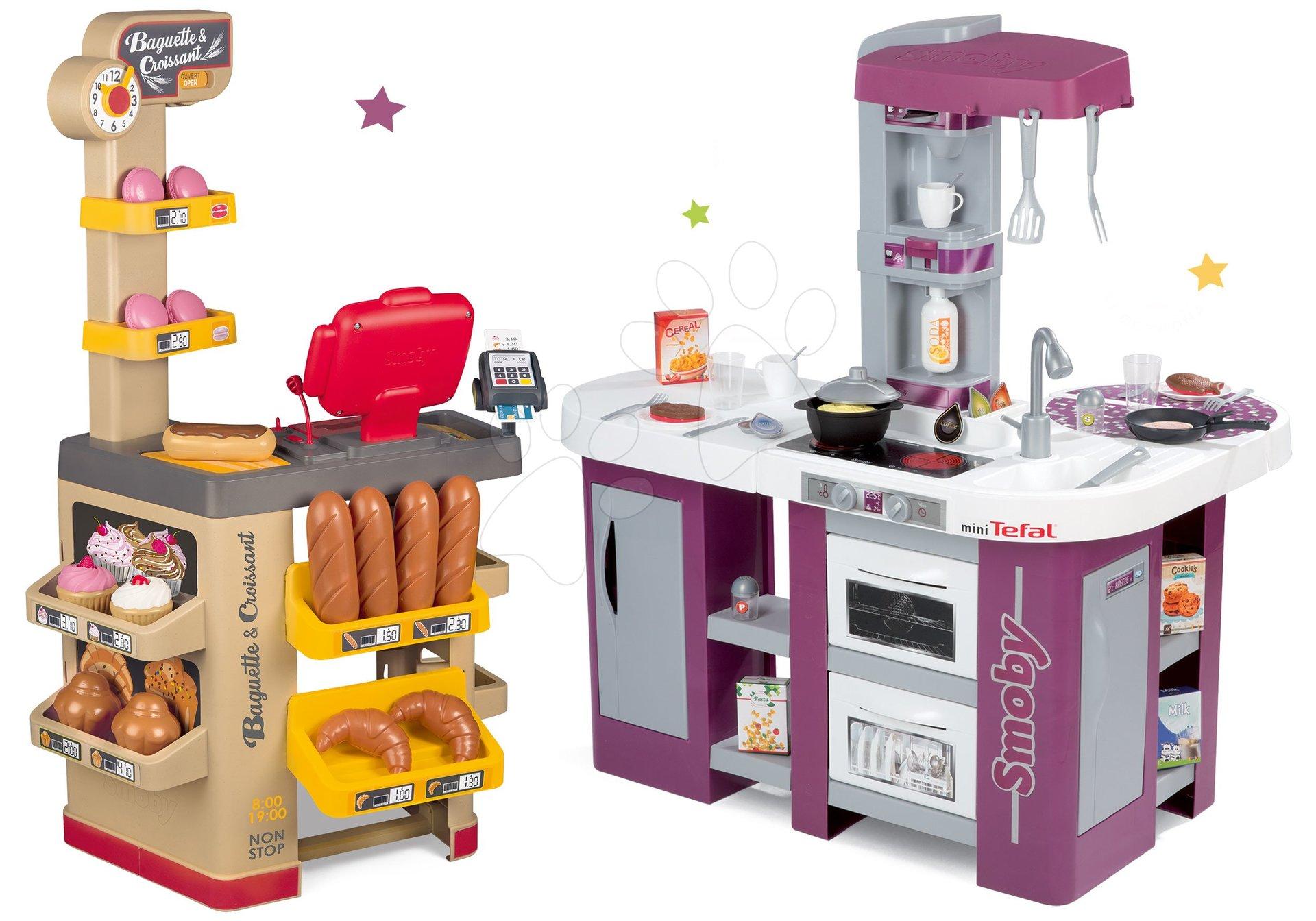 Set pekáreň s koláčmi Baguette&Croissant Bakery Smoby s elektronickou pokladňou a kuchynka elektronická Tefal Studio XL s umývačkou riadu