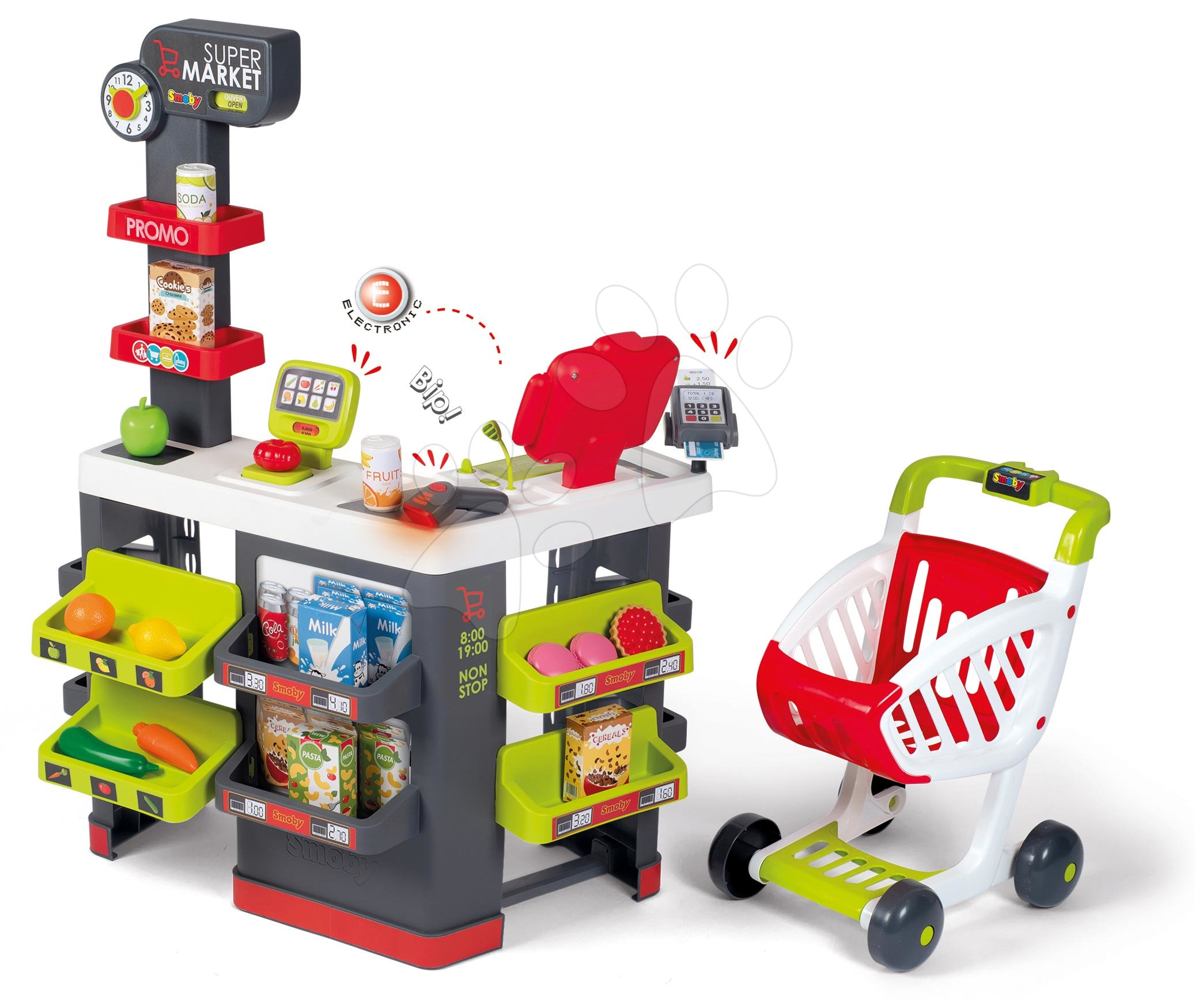 Obchod s vozíkem a potravinami Supermarket Smoby s elektronickou pokladnou a skenerem váhou a 42 doplňků