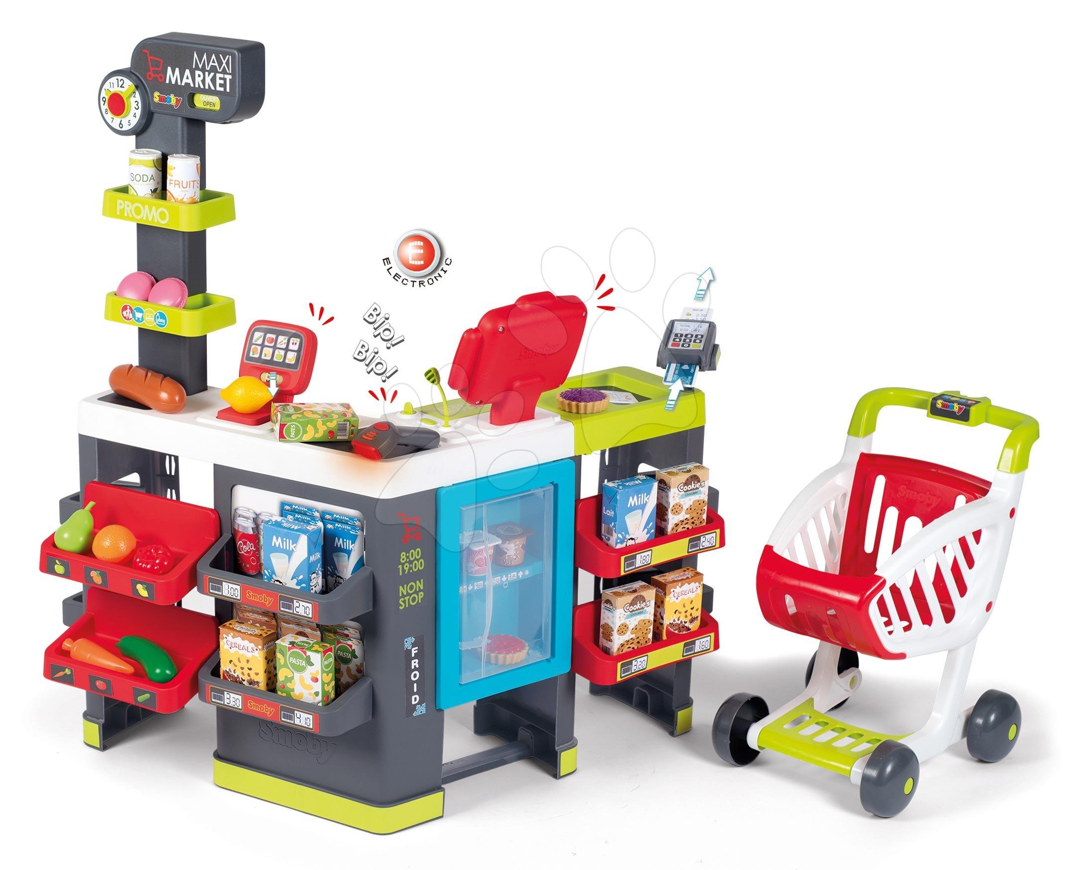Obchod so zmiešaným tovarom Maxi Market Smoby s elektronickou pokladňou a skenerom chladničkou s 50 doplnkami
