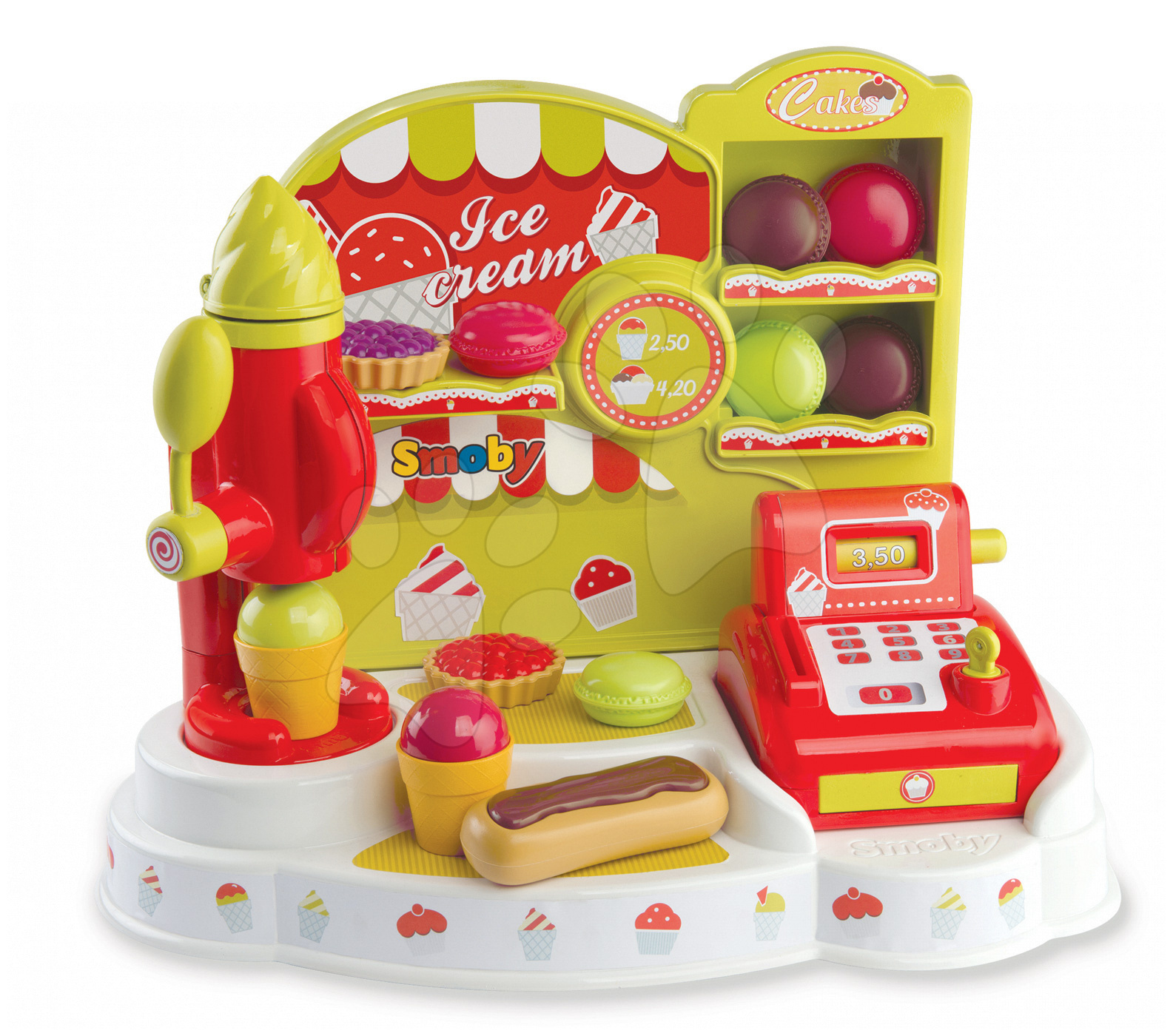 Obchody pre deti - Zmrzlináreň Ice Cream Smoby s pokladňou a 21 doplnkami od 18 mes
